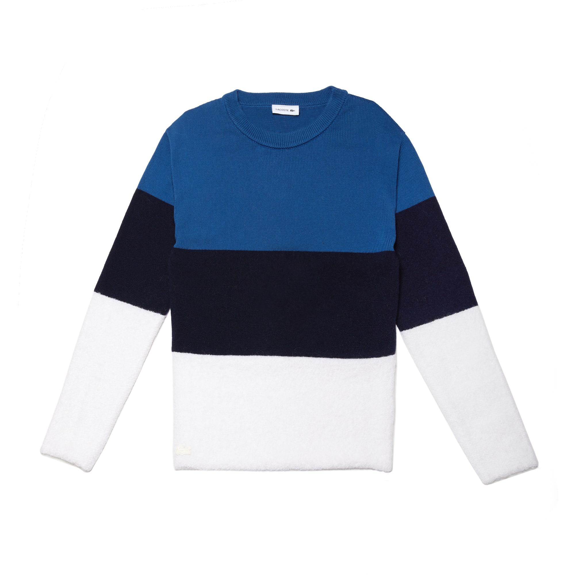 라코스테 스웨터 Lacoste Womens Crew Neck Colorblock Cotton, Mohair And Wool Jersey Sweater,geode/navy blue-inkwell