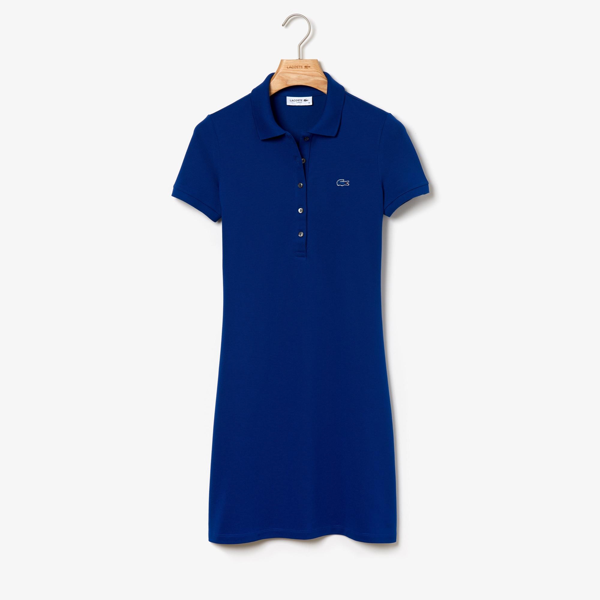 라코스테 미니 피케 폴로 원피스 Lacoste Womens Stretch Cotton Mini Pique Polo Dress,navy blue