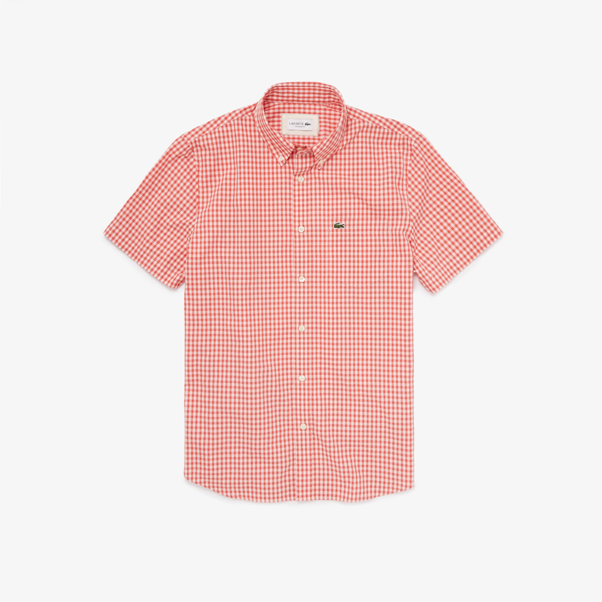 라코스테 Lacoste Mens Regular Fit Gingham Poplin Shirt