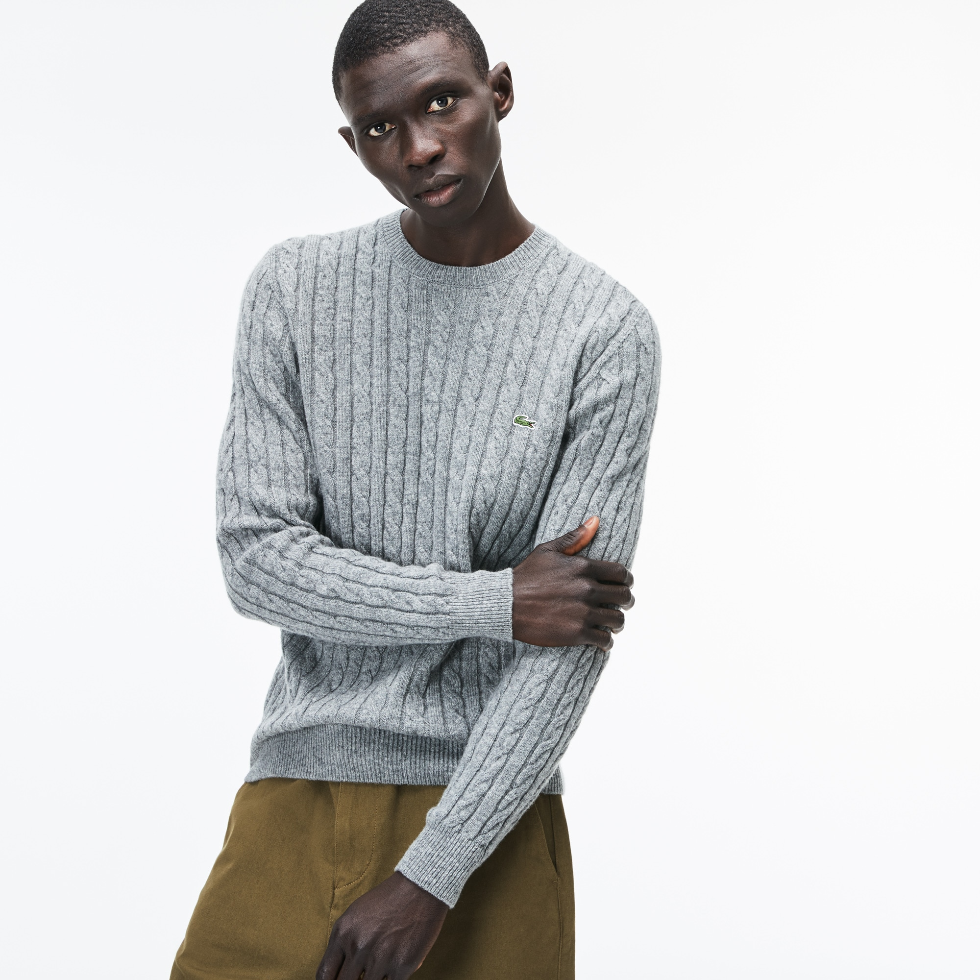 fb7113806d9 Men's Crew Neck Wool Cable Knit Effect Sweater