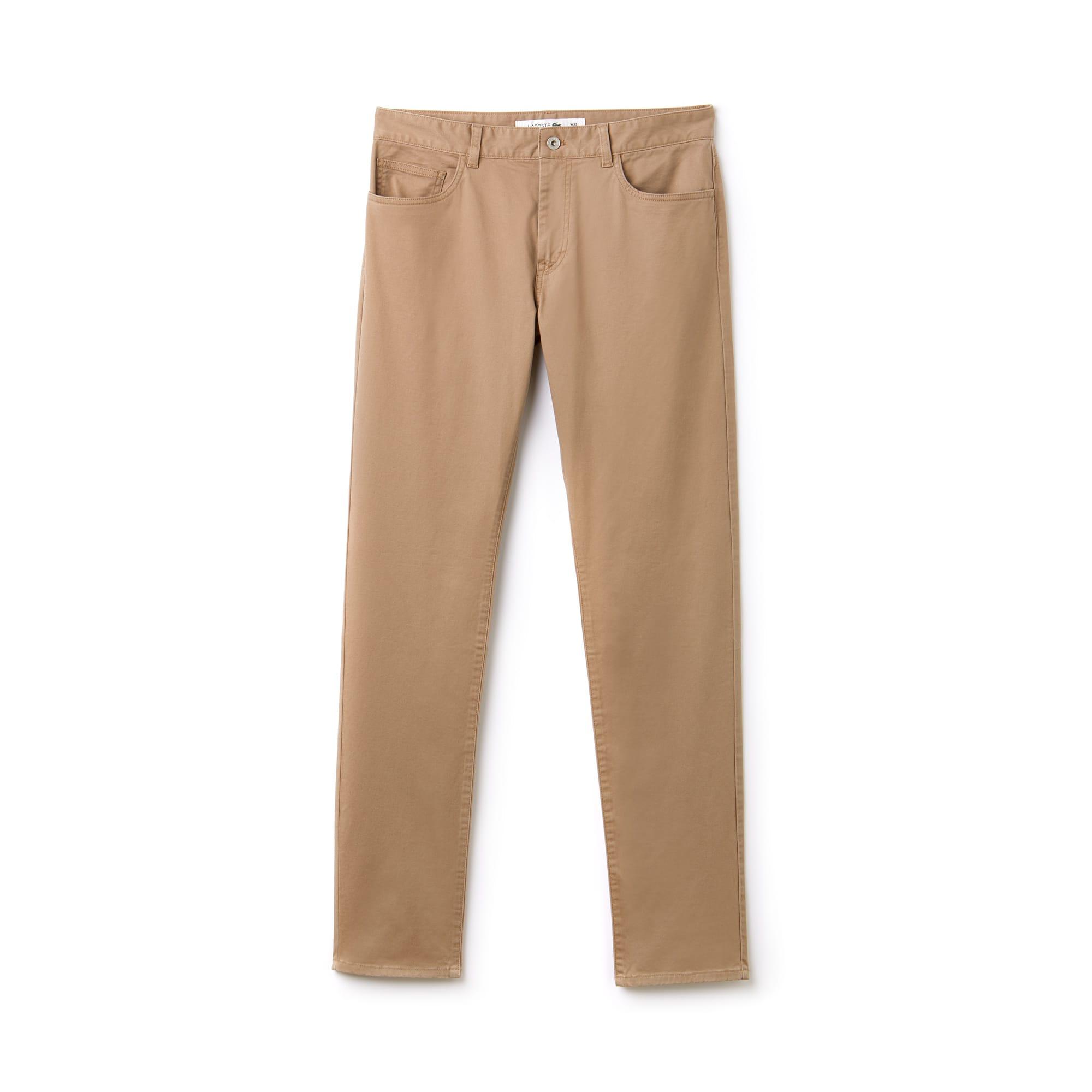 라코스테 Lacoste Mens Slim Fit Stretch Cotton Pants,beige