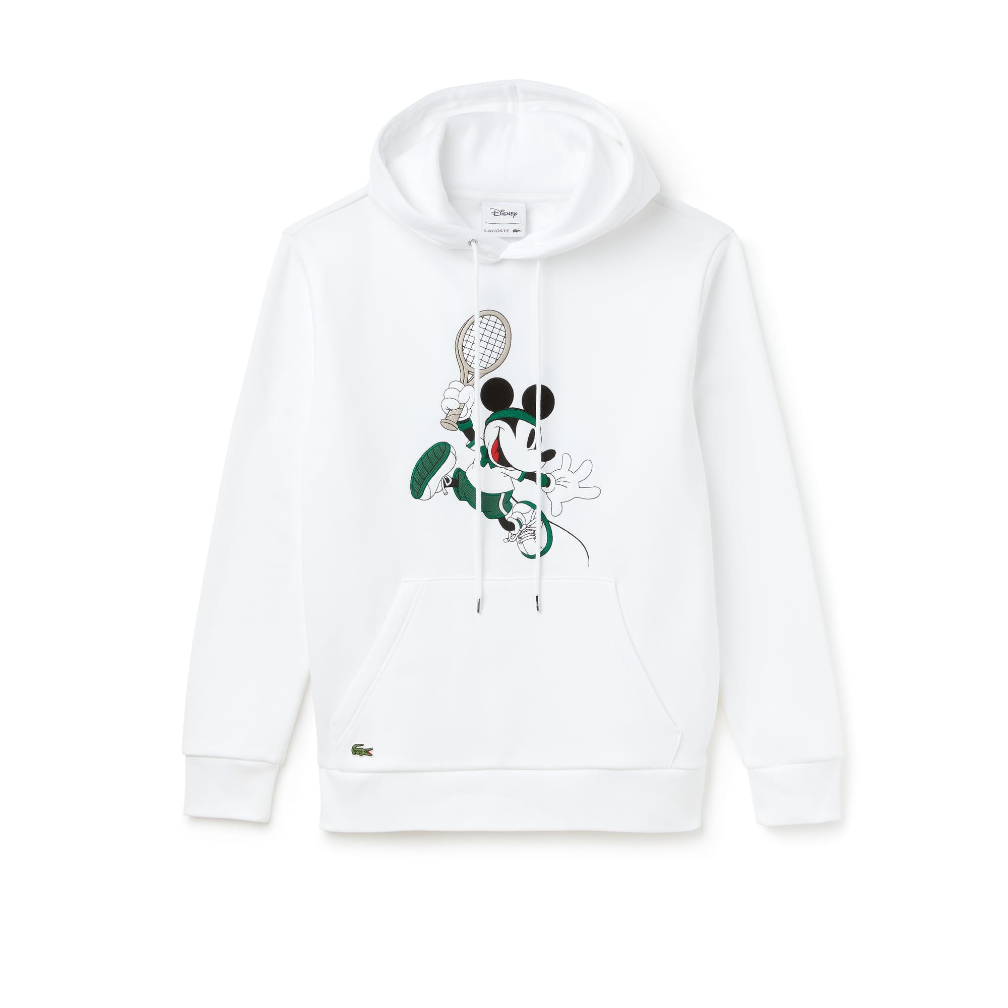 라코스테 X 디즈니 콜라보 유니섹스 미키마우스 자수 후드티 화이트 Lacoste Unisex Disney Mickey Embroidery Hooded Fleece Sweatshirt, white