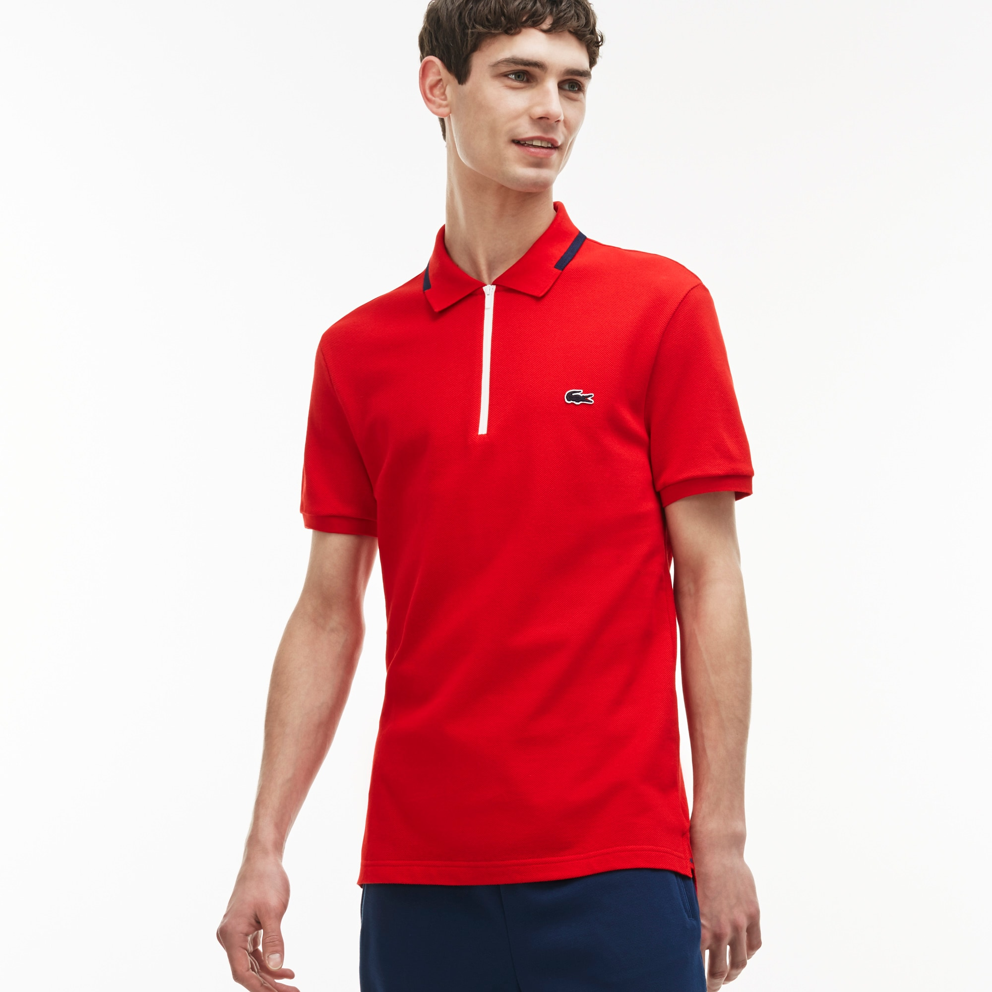 Men's Made in France Slim Fit Zippered Polo Shirt