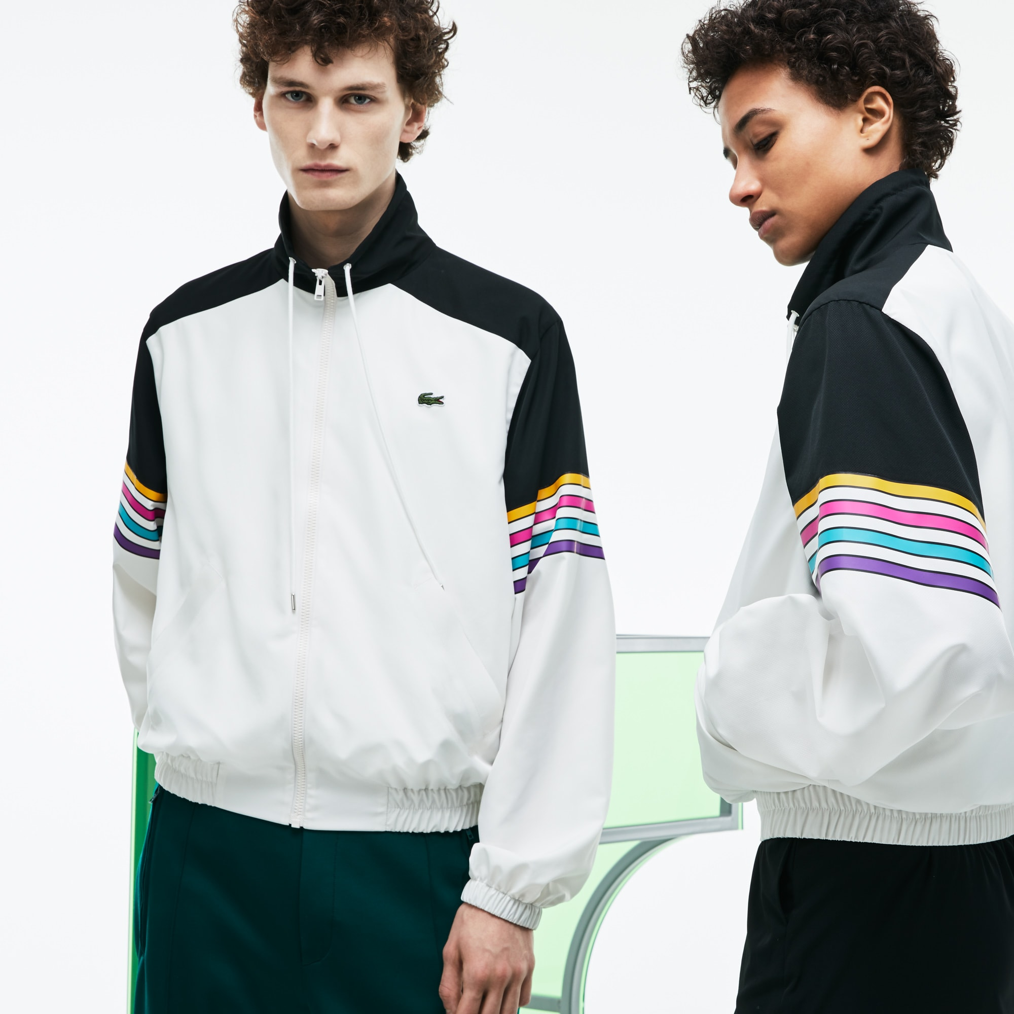 Unisex Fashion Show Colorblock Technical Canvas Zippered Jacket