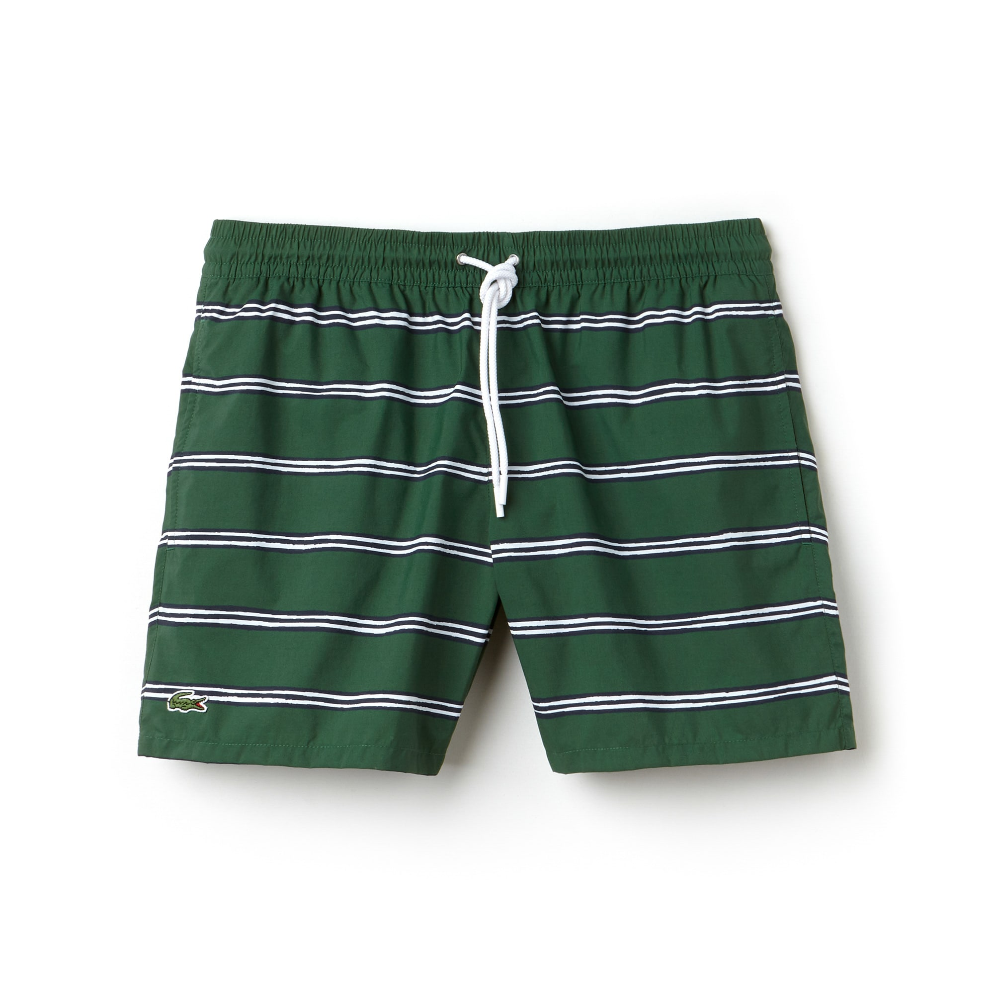 라코스테 수영복 바지 Lacoste Mens Striped Canvas Swimming Trunks,green/multico