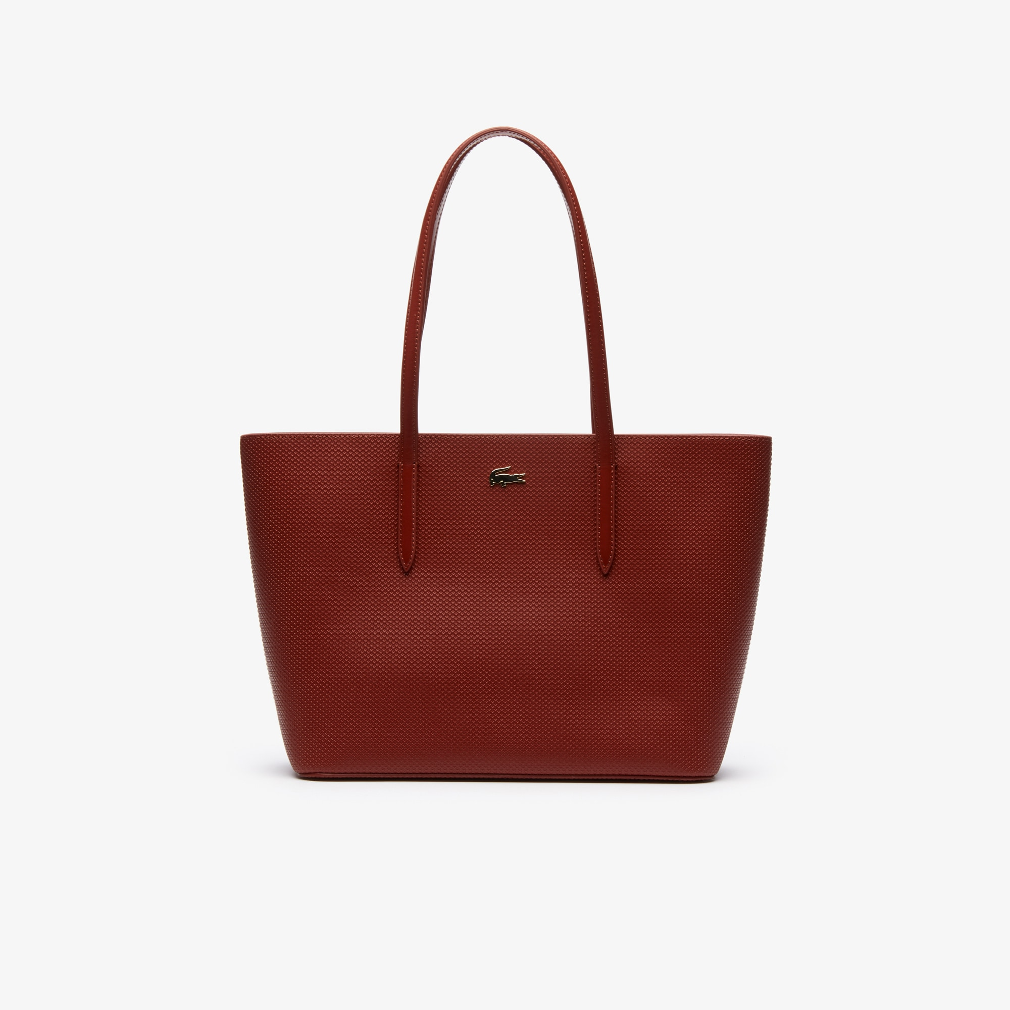 라코스테 Lacoste Womens Chantaco Pique Leather Zip Tote Bag,burnt henna