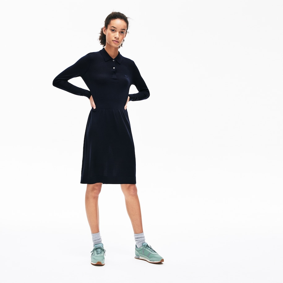 Women's Fitted Striped Wool Polo Dress