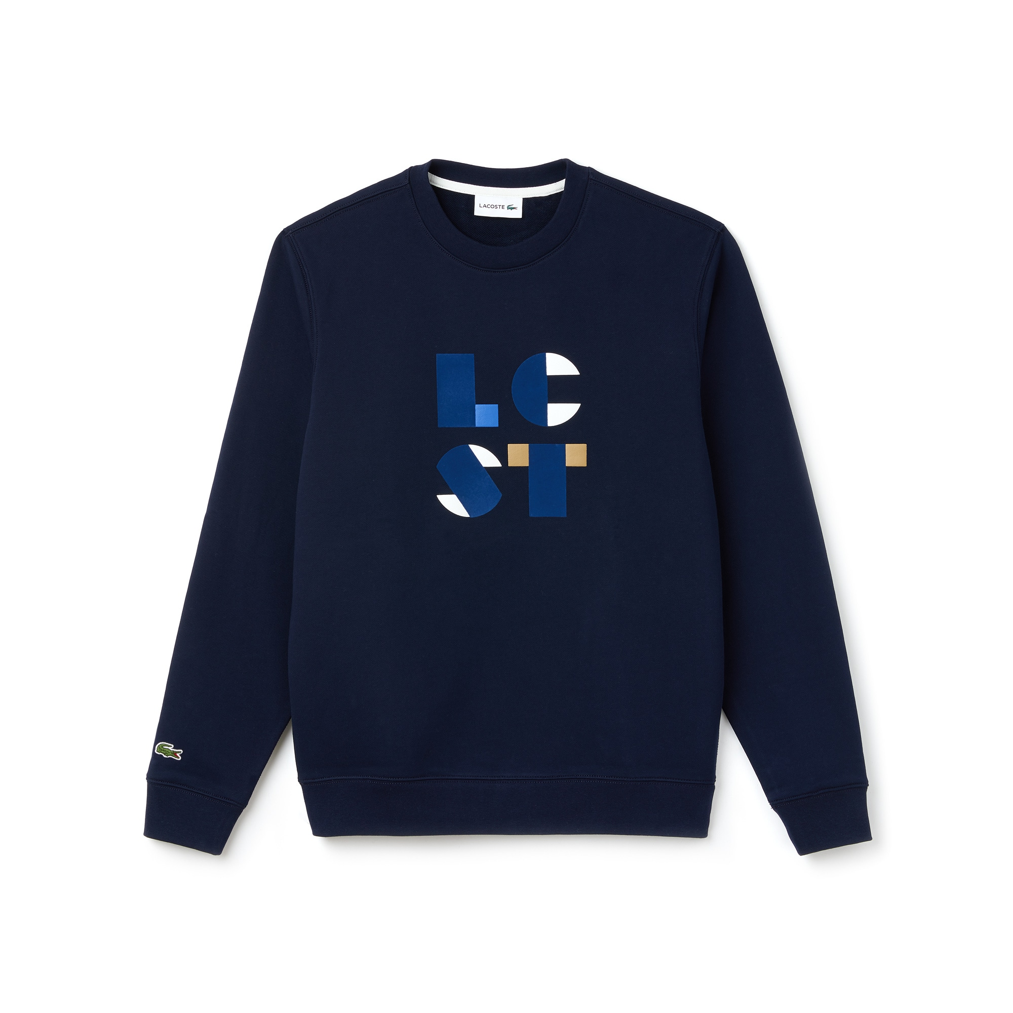Men's Crew Neck Lettering Cotton Fleece Sweatshirt