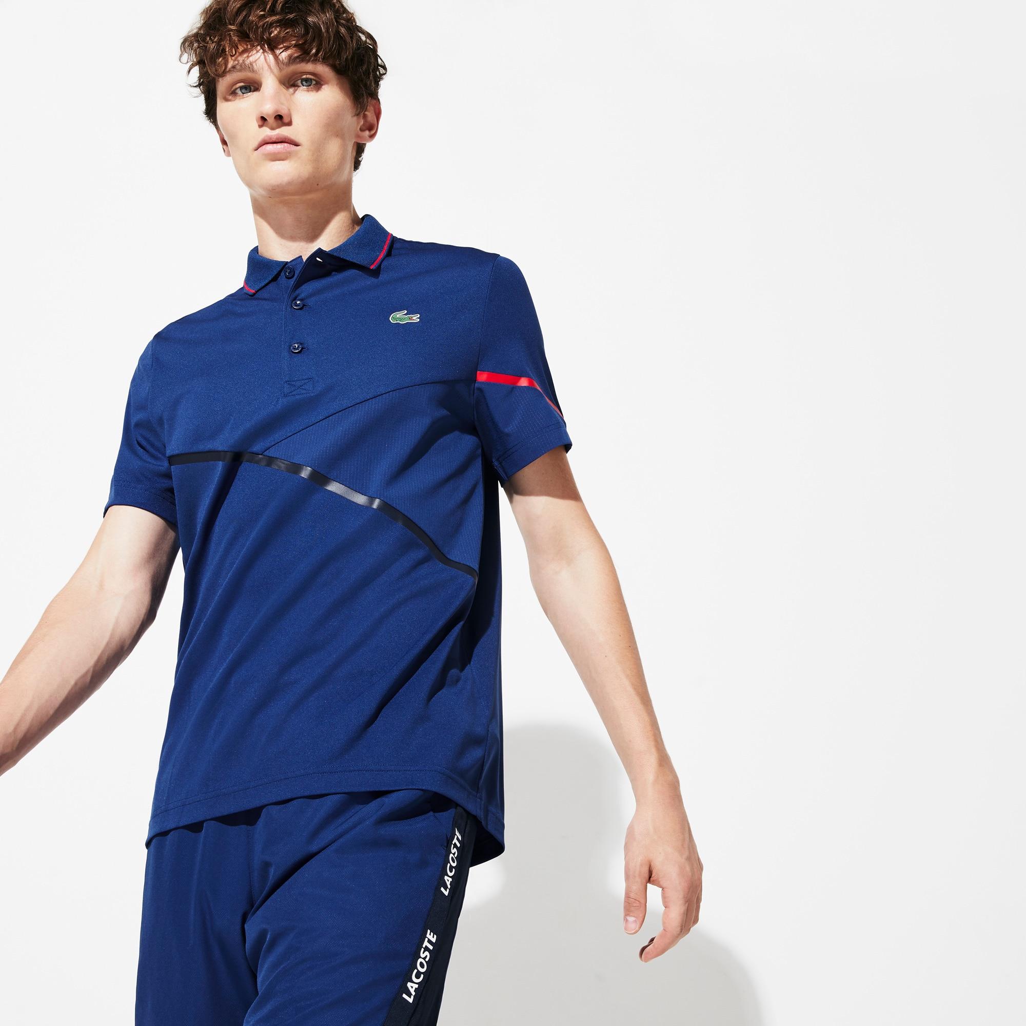 라코스테 Lacoste Mens SPORT Mesh-Paneled Pique Tennis Polo,Navy Blue / Red - 2FQ