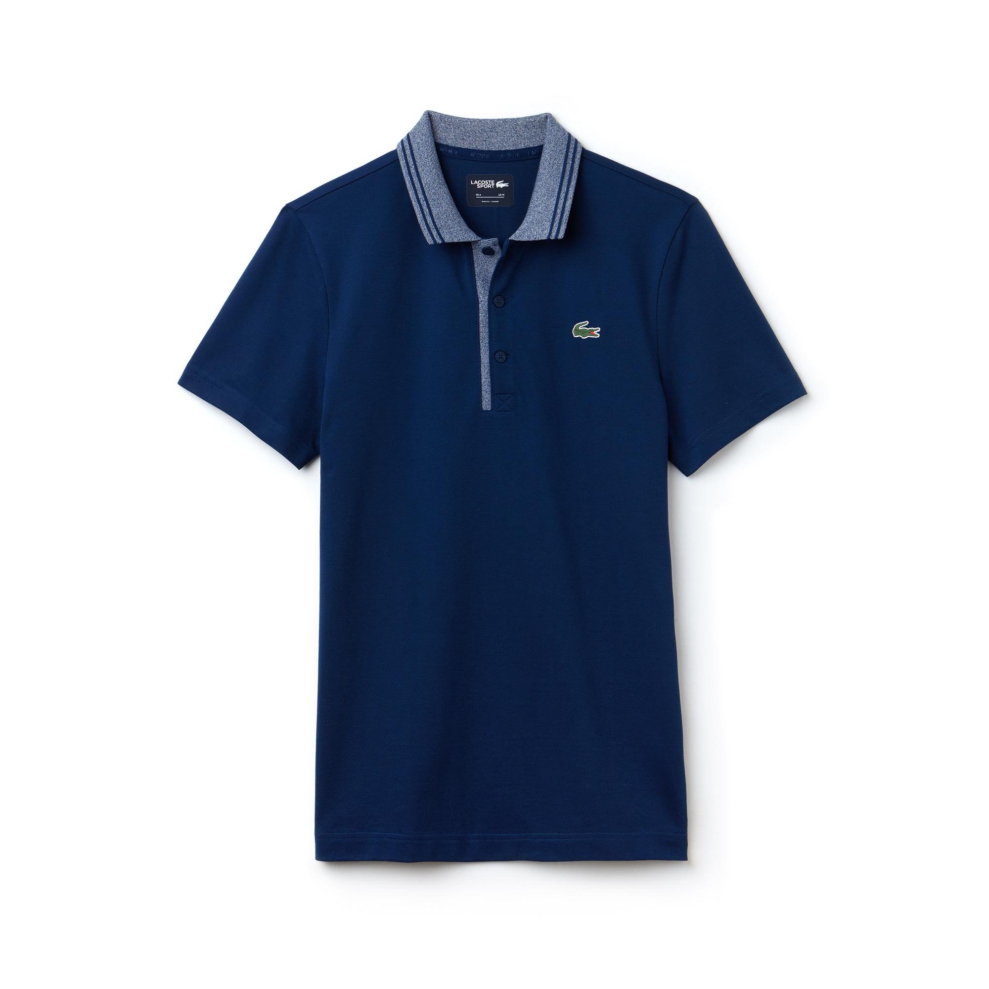 라코스테 Lacoste Mens SPORT Jacquard Accents Petit Pique Golf Polo,Navy Blue / White
