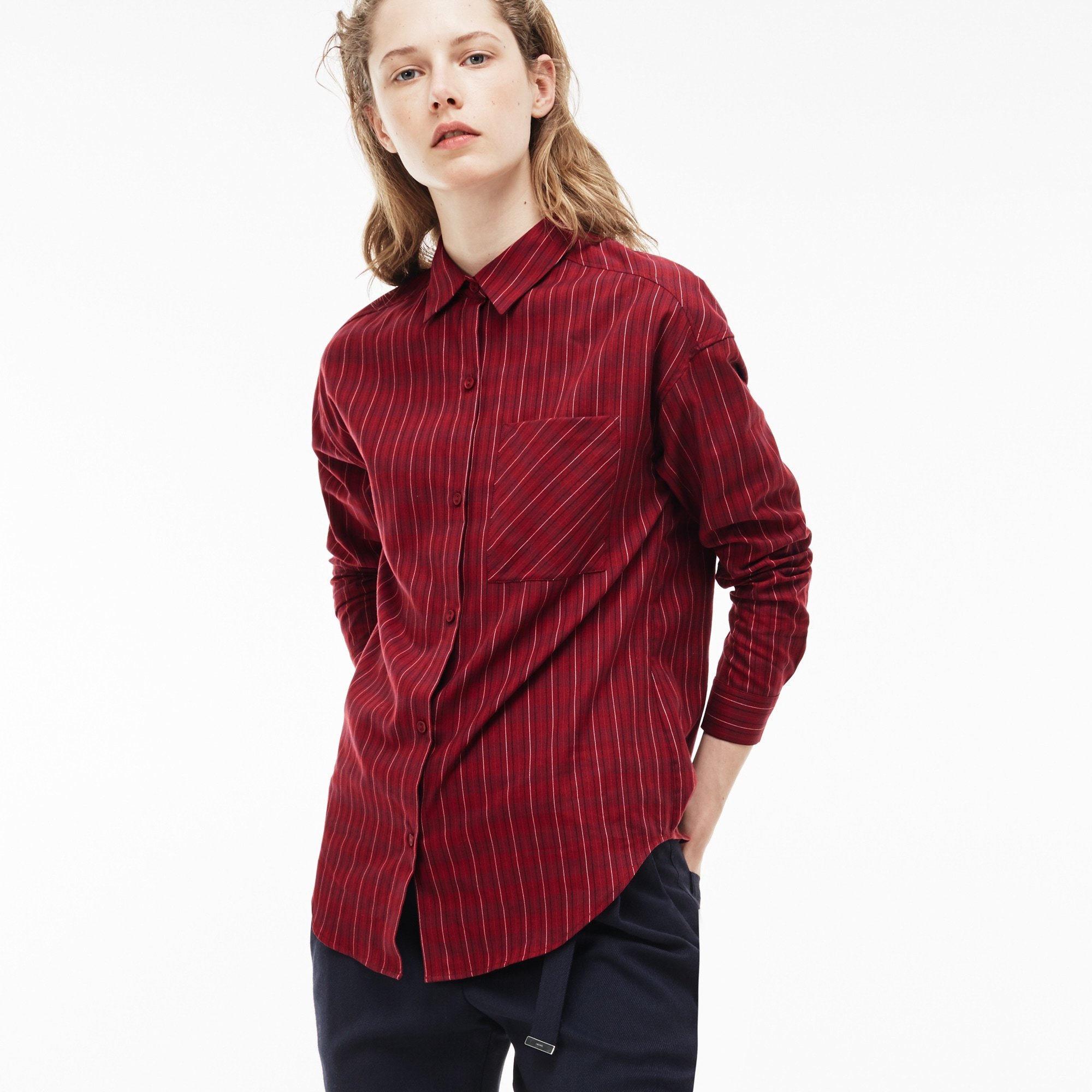 Women'S Check Cotton Poplin Shirt in Turkey Red/Beaujolais 09E from Lacoste