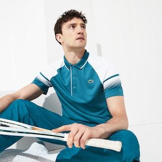 라코스테 스포츠 폴로 셔츠 Lacoste Mens SPORT Technical Pique Tennis Polo,Blue / White / White