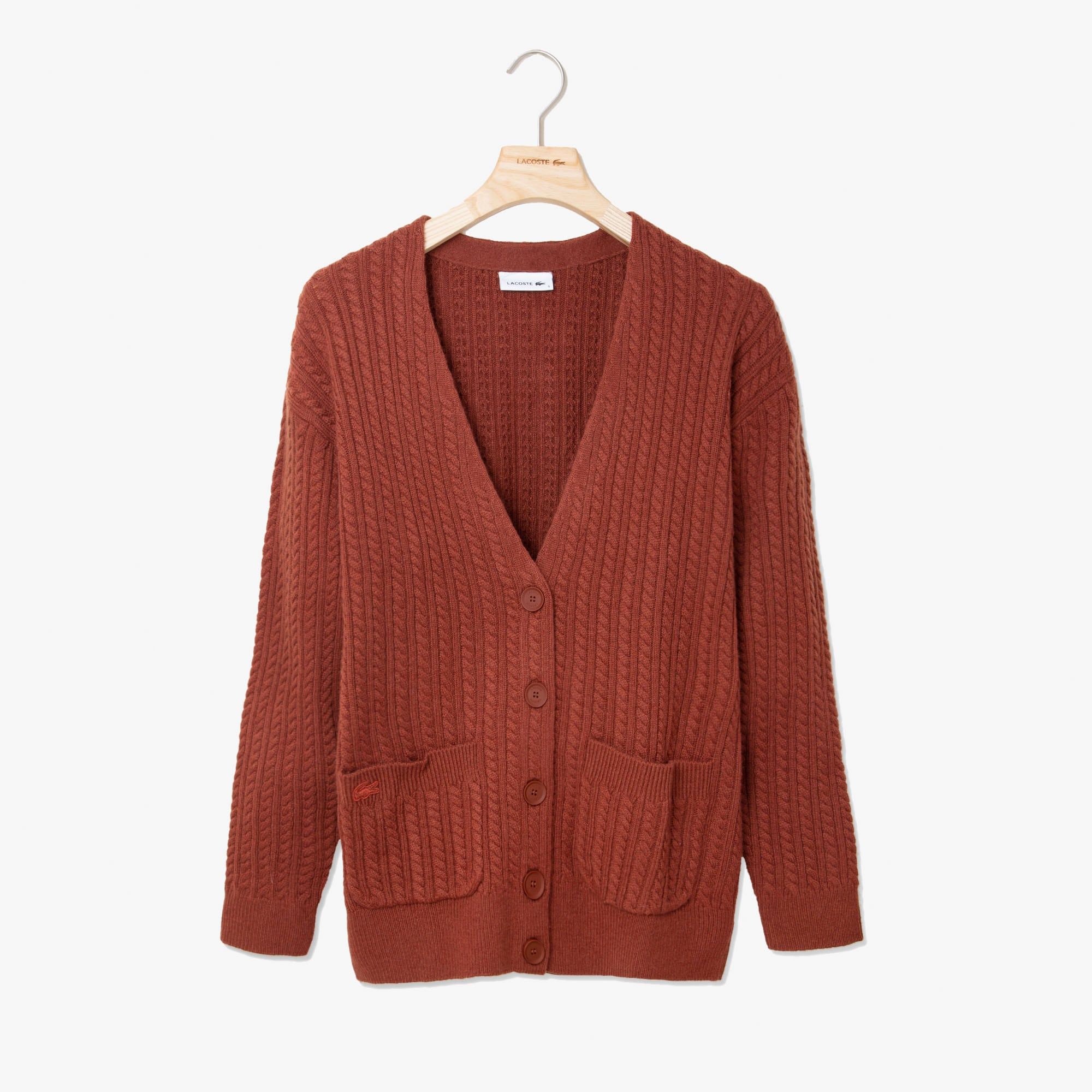 Lacoste Jackets Women's Wool And Cashmere Blend Cable Knit Cardigan