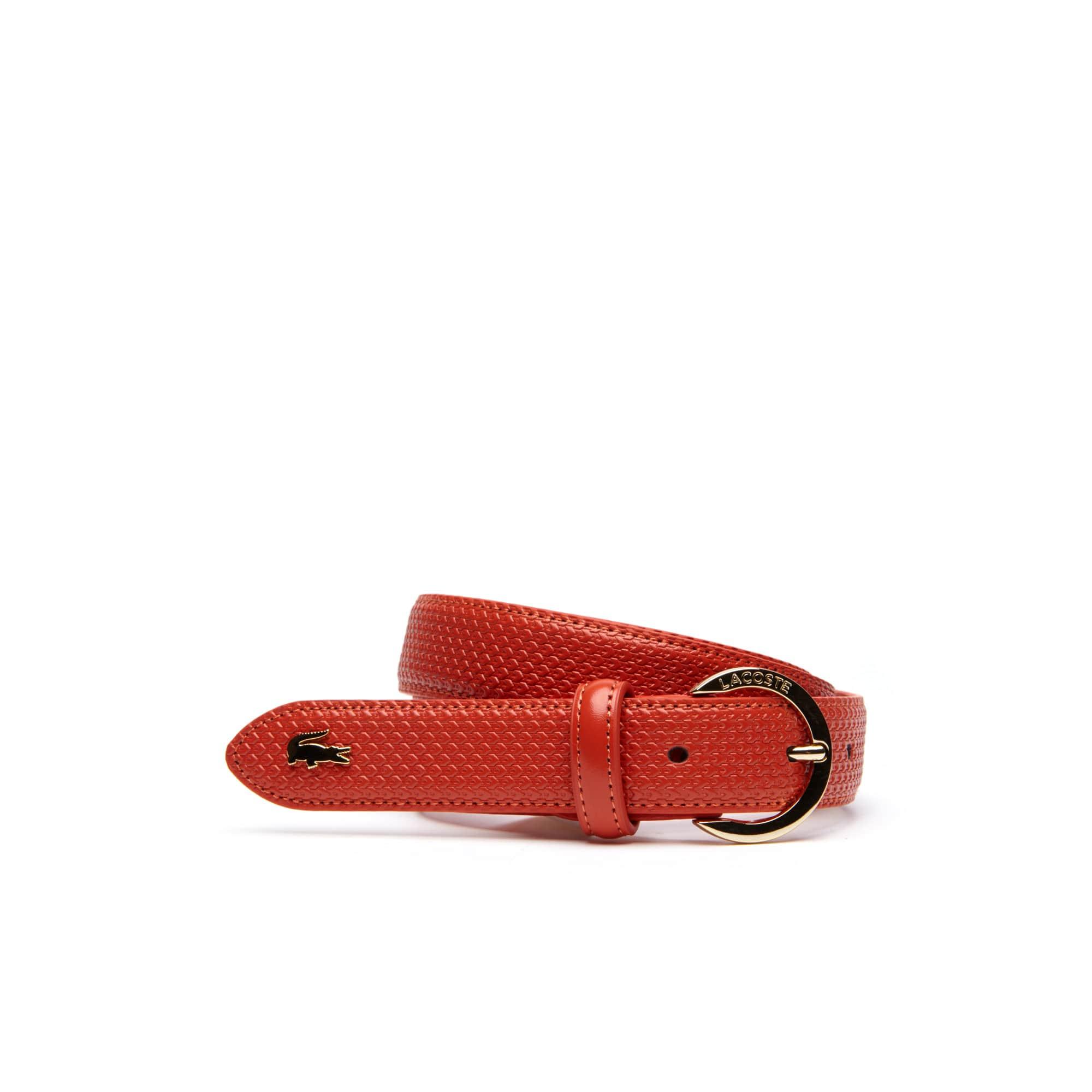 라코스테 여성 벨트 Womens Chantaco Lacoste Engraved Round Buckle Leather Belt,orange.com