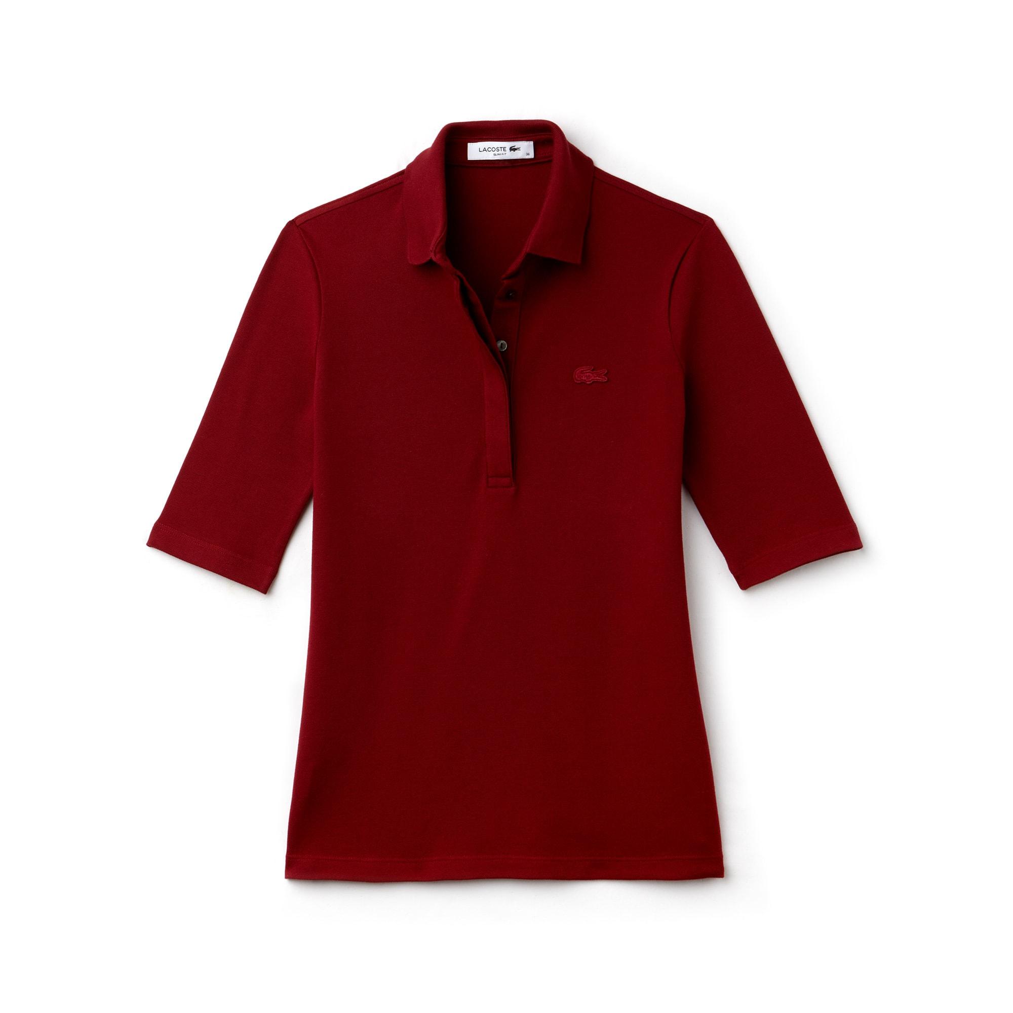 라코스테 Lacoste Womens Slim Fit Stretch Mini Pique Polo Shirt,bordeaux