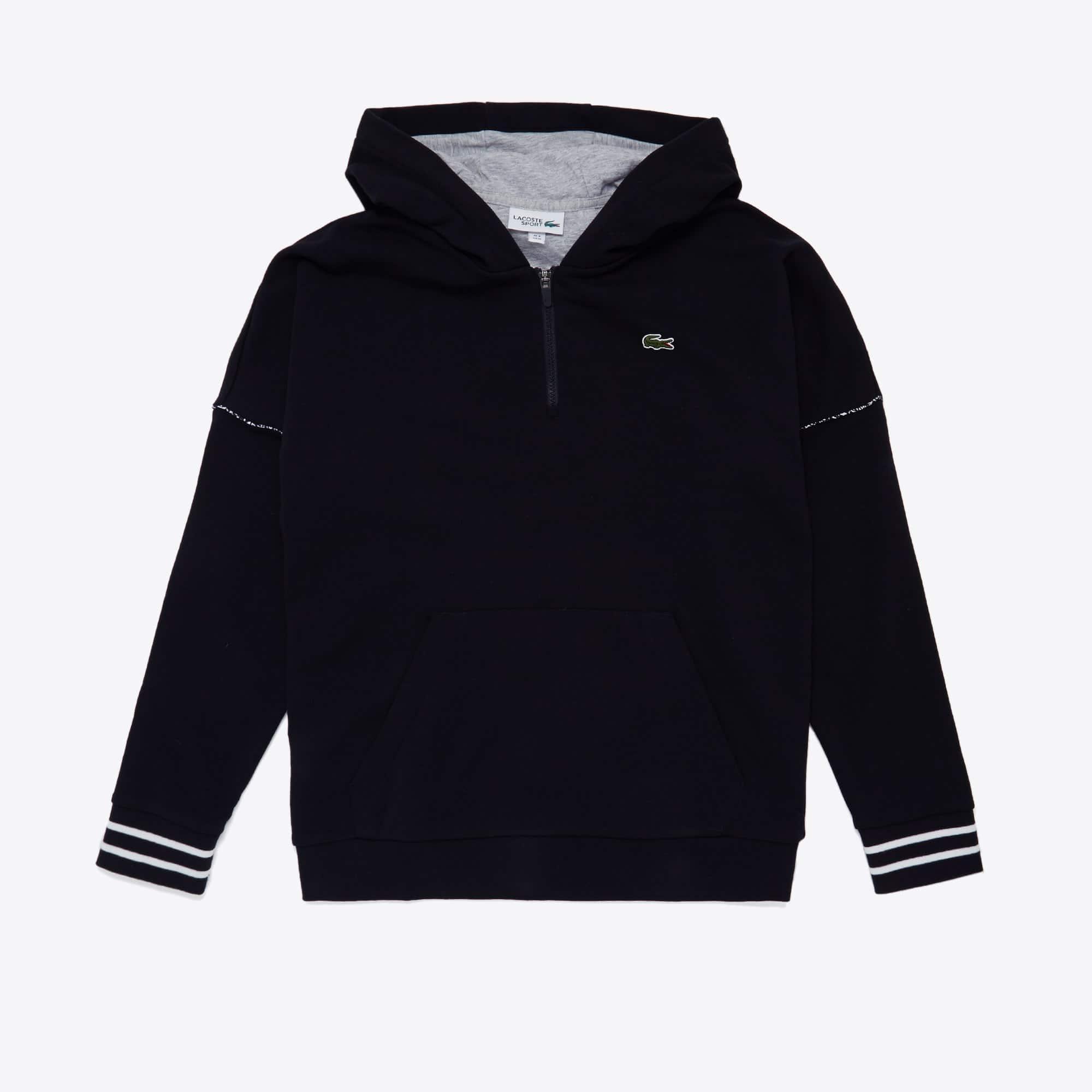 라코스테 스포츠 하프 집업 후드티 Lacoste Mens SPORT Contrast-Hood Fleece Sweatshirt,Black / Grey Chine / White / Black - SX4 (Selected