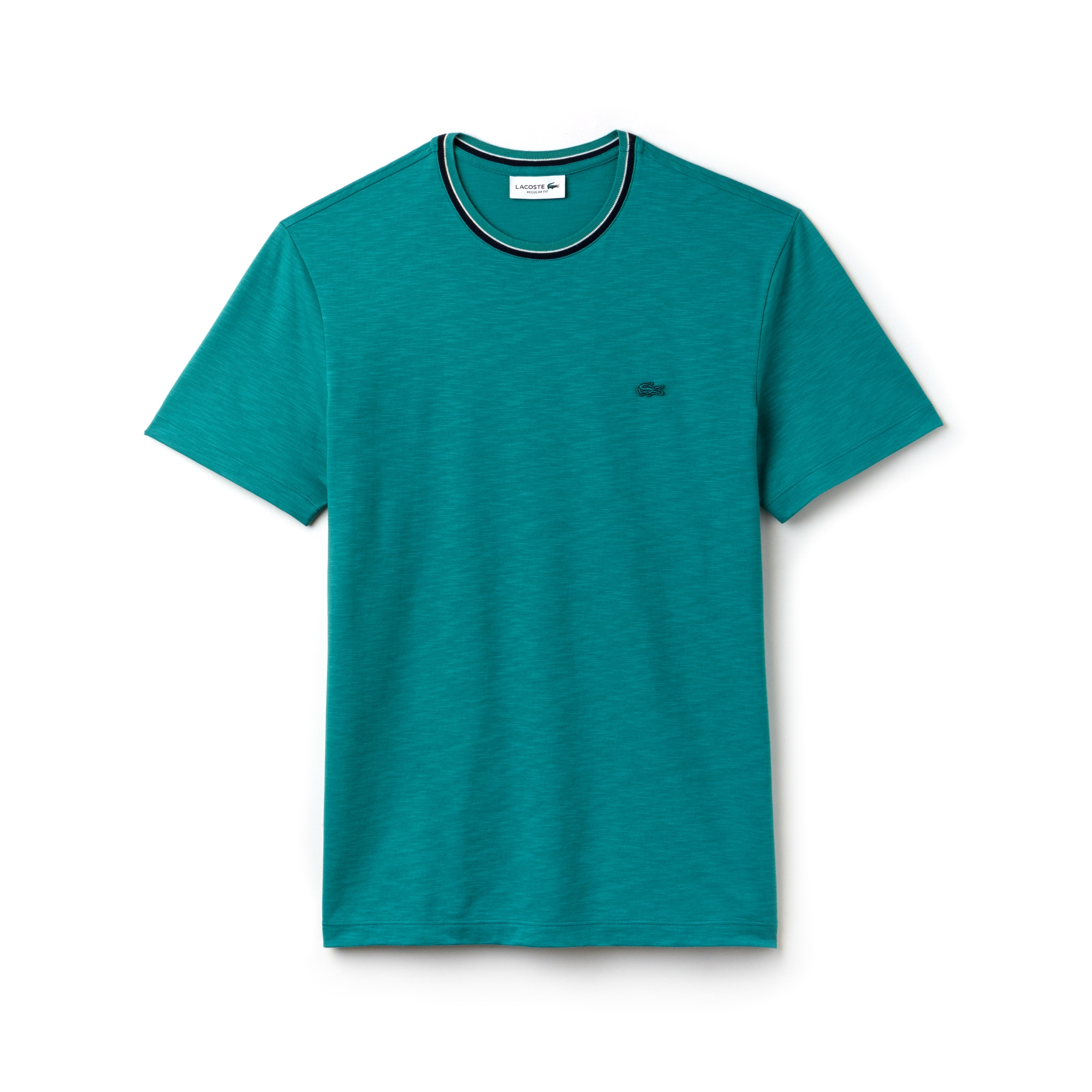 Men's Contrasting Crew Neck Flamme Cotton Jersey T-shirt