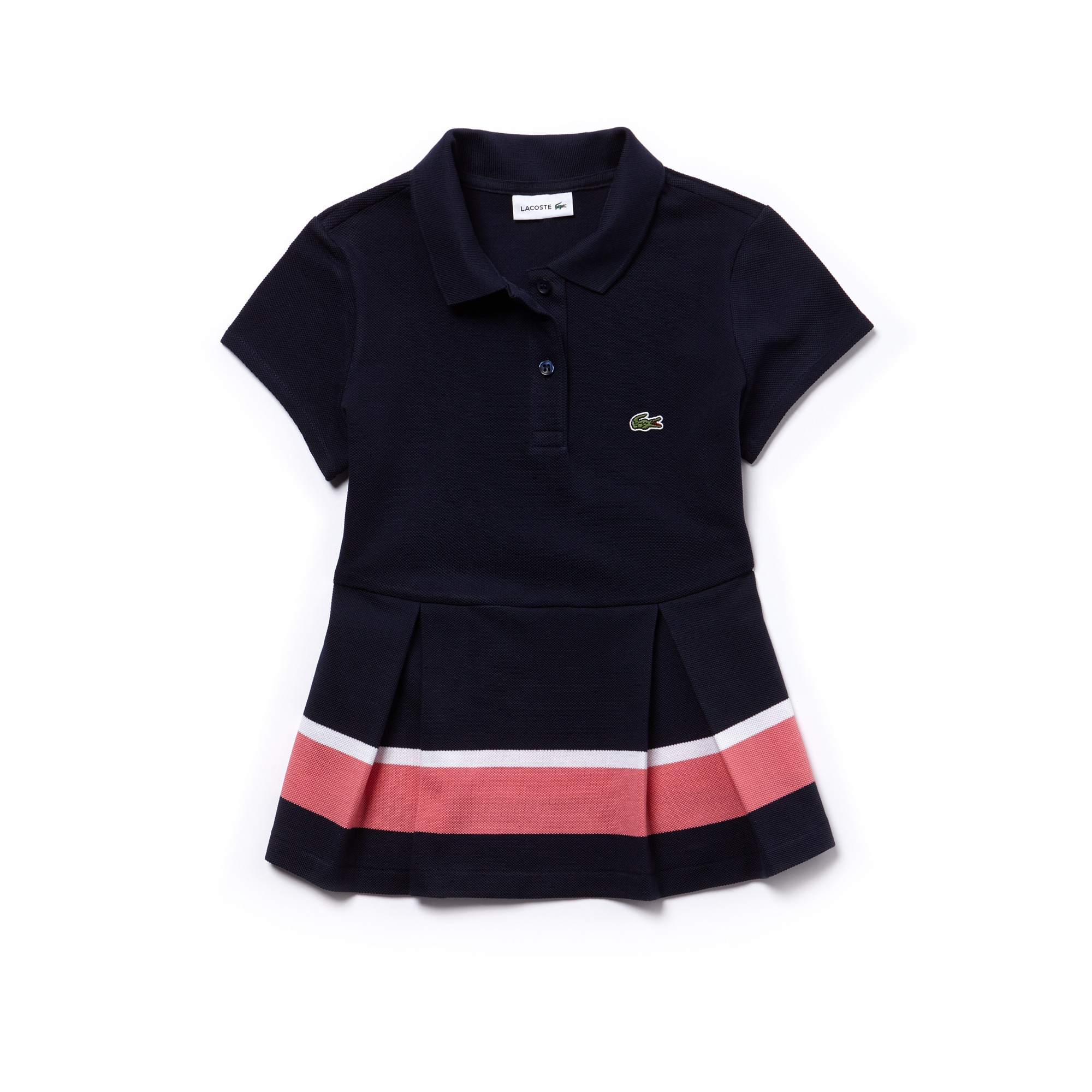 Girls'  Pleated Colorblock Petit Piqué Polo