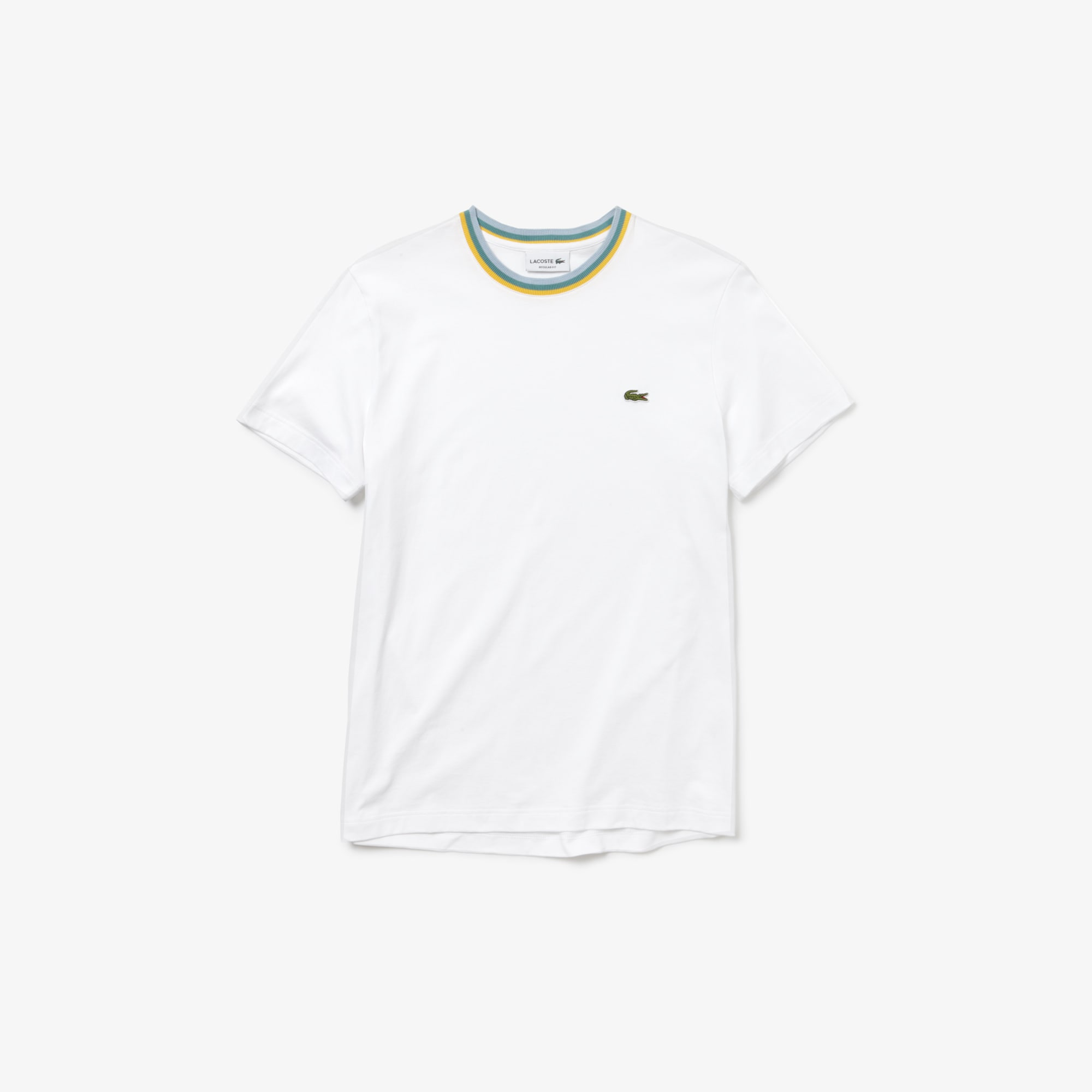 라코스테 Lacoste Mens Striped Crew Neck Cotton Jersey T-shirt,white