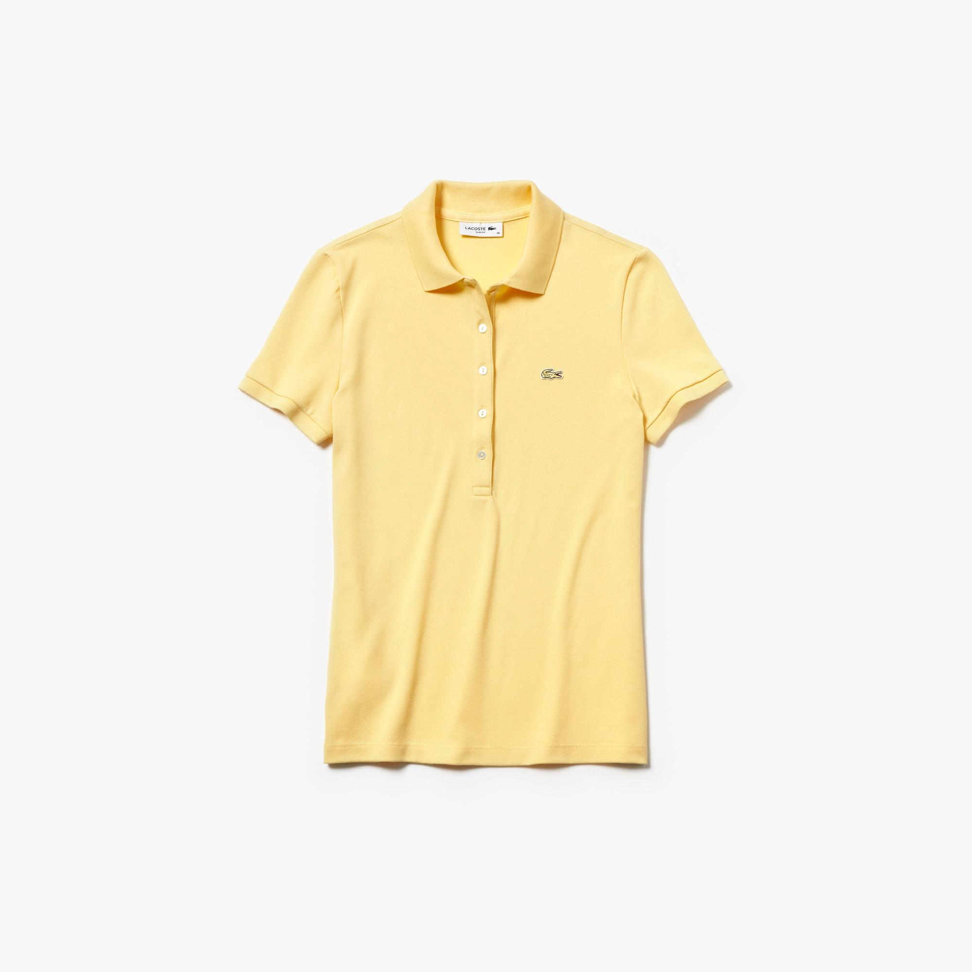 라코스테 Lacoste Womens Slim Fit Stretch Mini Cotton Pique Polo Shirt,yellow