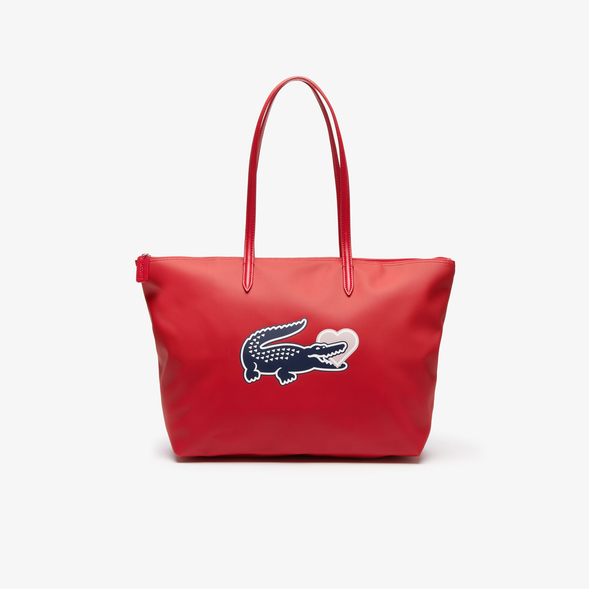 라코스테 Lacoste Womens L.12.12 Concept Croc Heart Zip Tote Bag,HIGH RISK RED