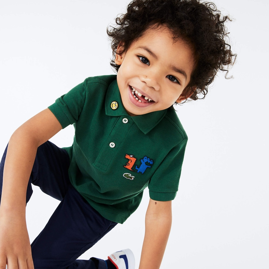 Boys' Lacoste Fun Crocodiles Cotton Piqué Polo Shirt