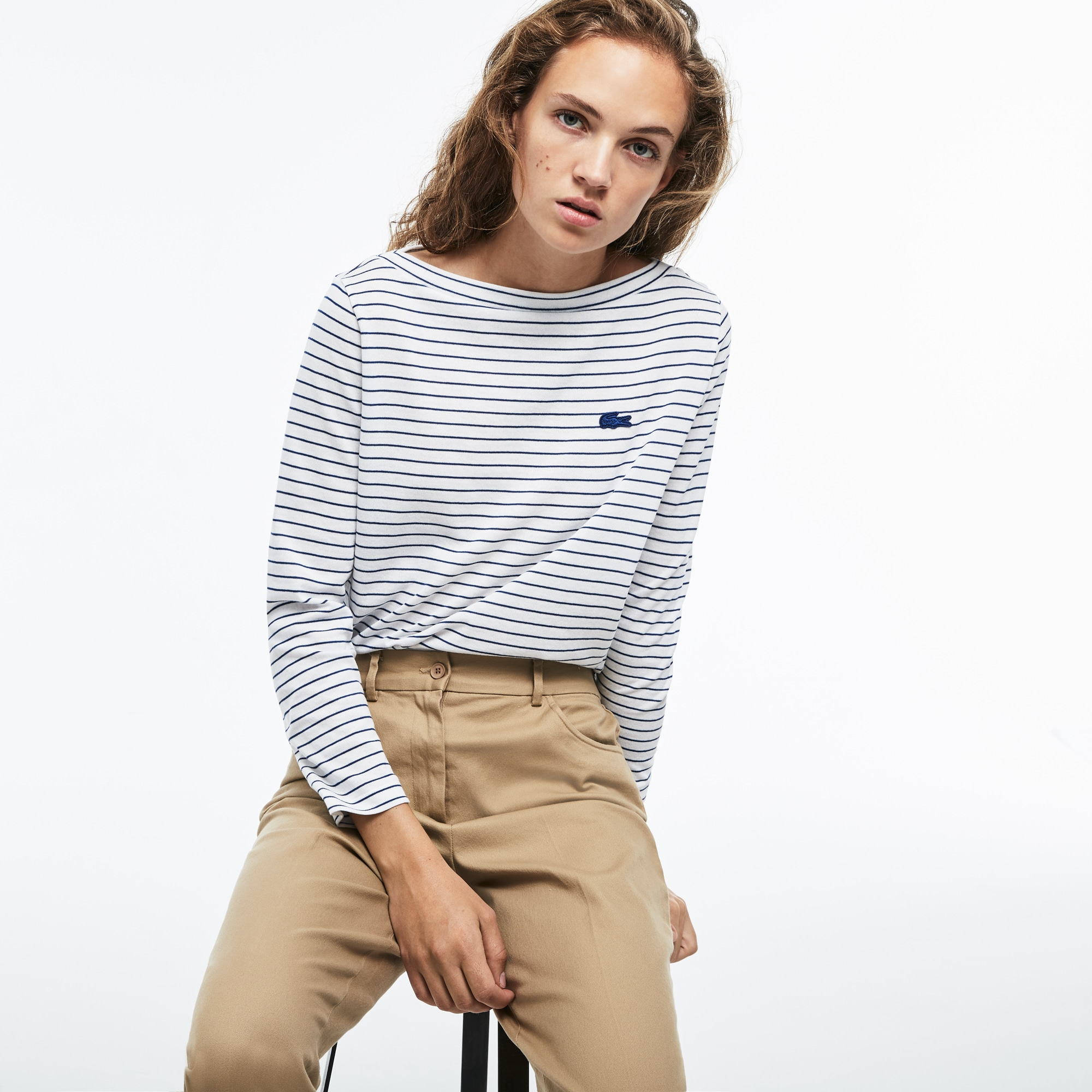 Women's Boat Neck Striped Cotton Nautical Shirt