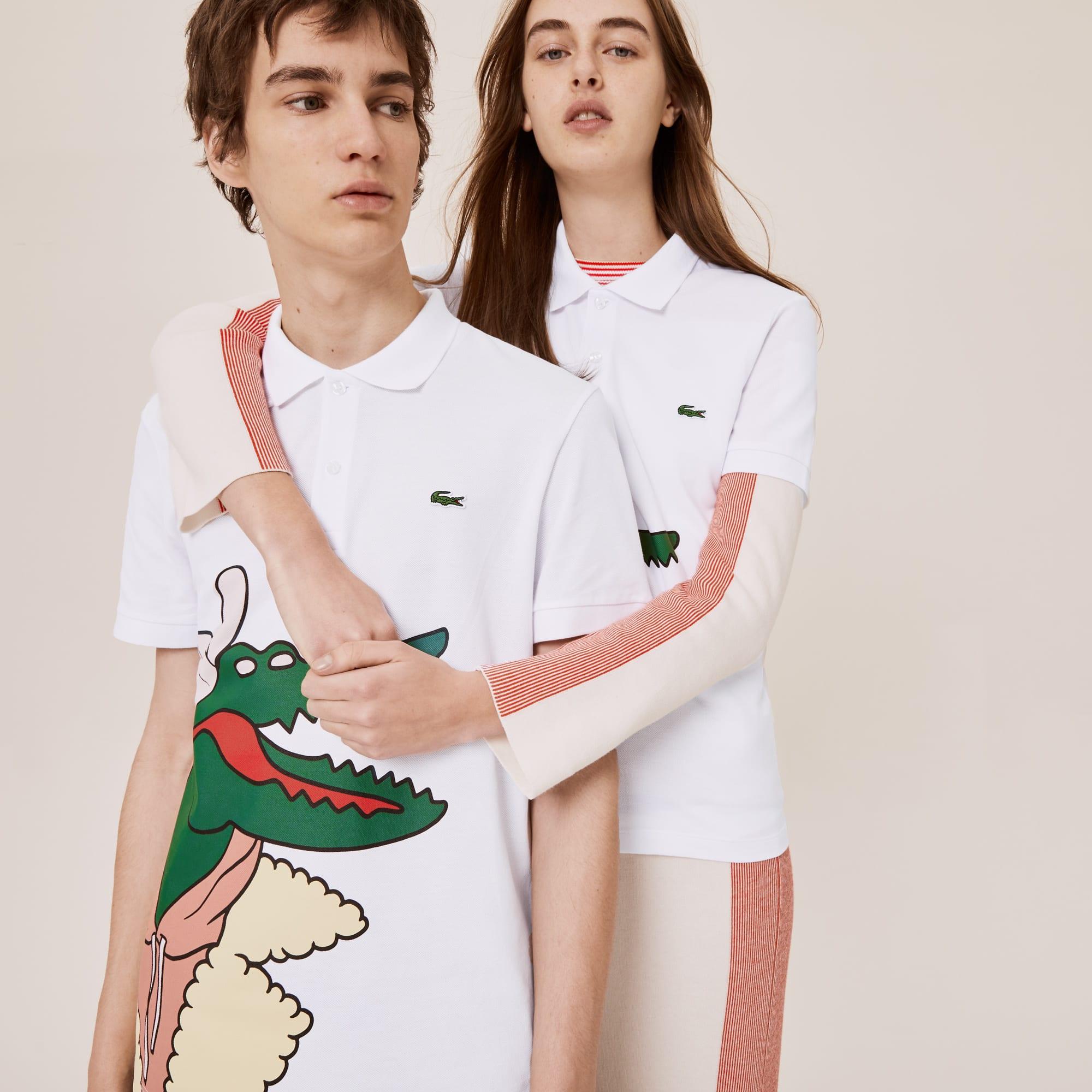 라코스테 X 장 미셀 티시에 콜라보 폴로 셔츠, 남녀공용 (클래식 핏) Unisex Lacoste x Jean-Michel Tixier Print Classic Fit Polo Shirt