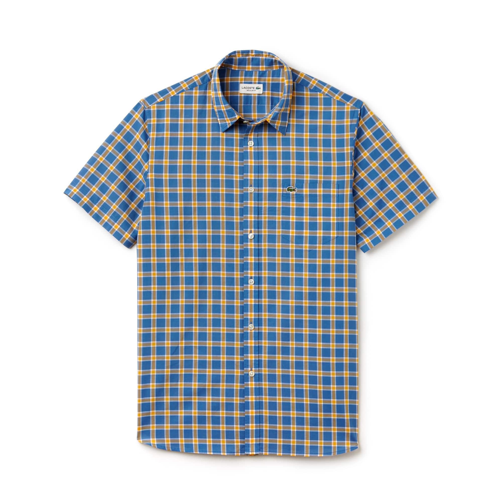 Men's Regular Fit Checked Poplin Shirt