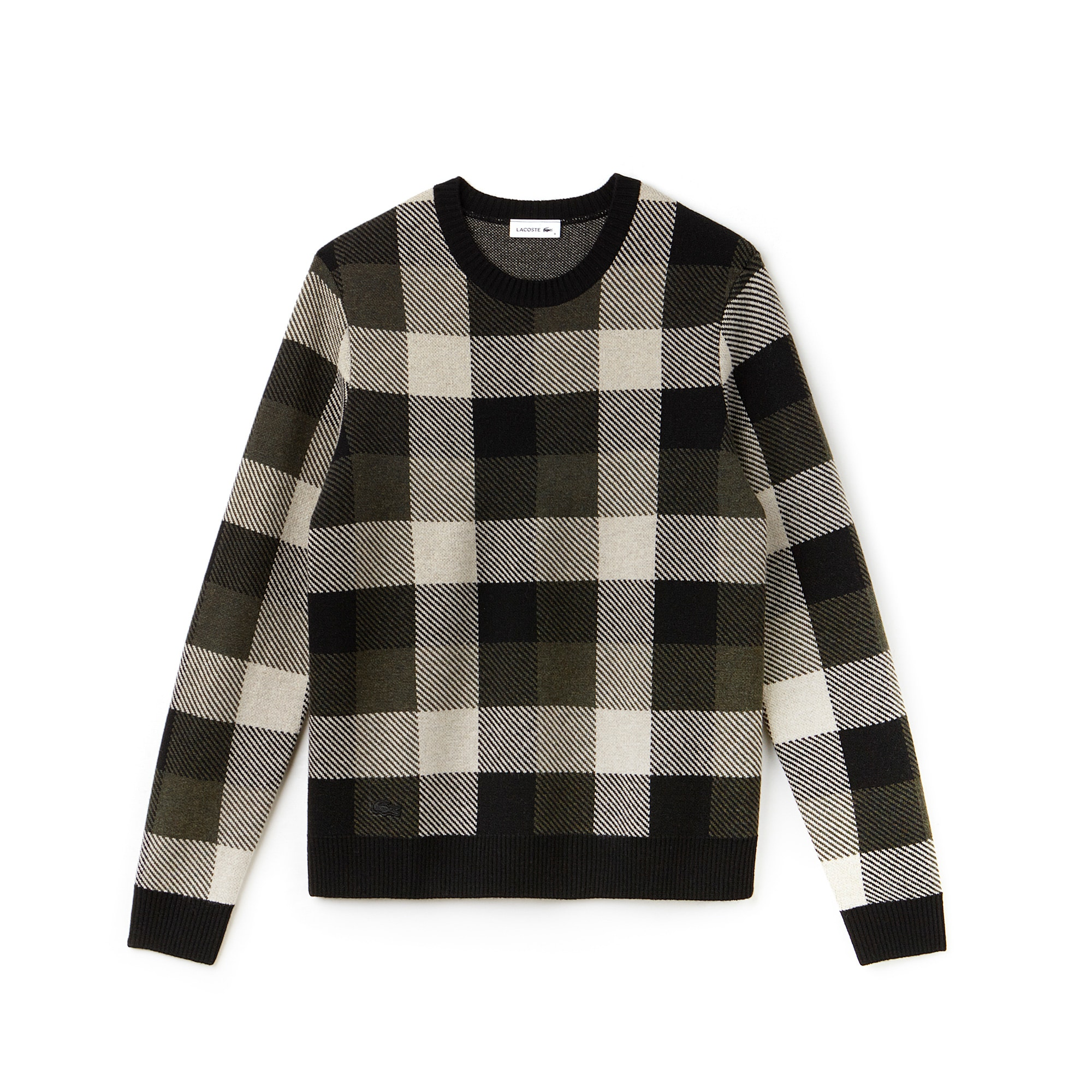 Men's Fashion Show Crew Neck Wool Jacquard Check Sweater