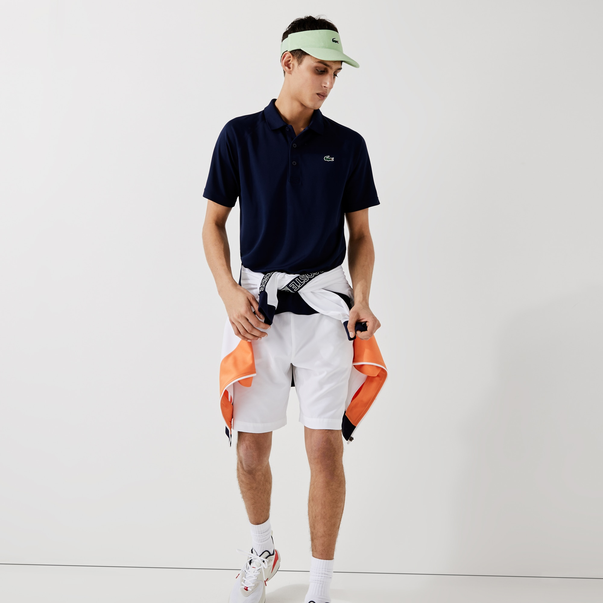 라코스테 Lacoste Mens SPORT Breathable Run-Resistant Interlock Polo Shirt