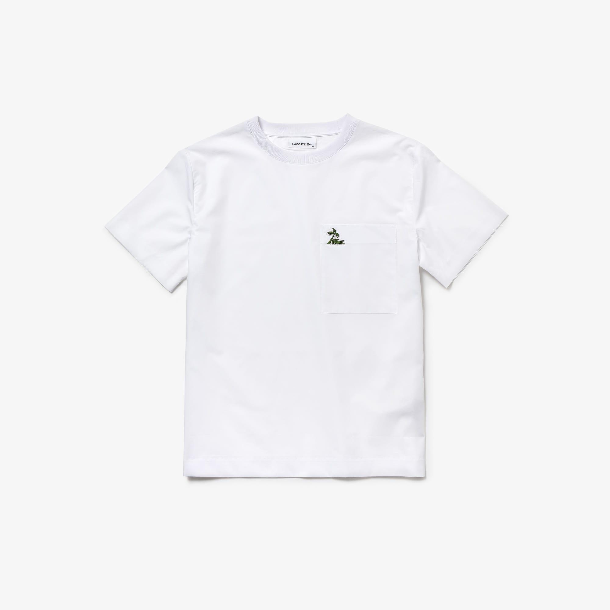Women's Wide Neck Cotton Poplin Palm Tree Croc T-shirt
