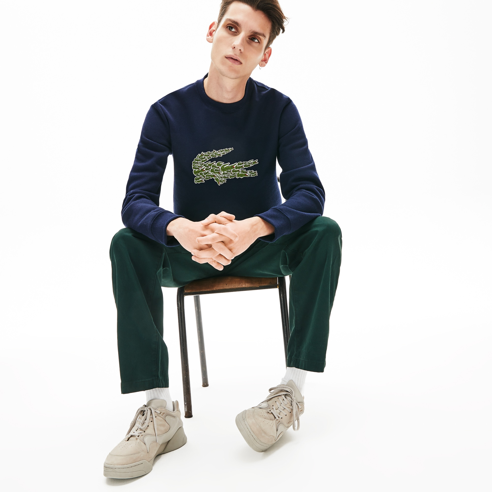 Lacoste Tops Men's Crewneck Croco Magic Logo Fleece Sweatshirt