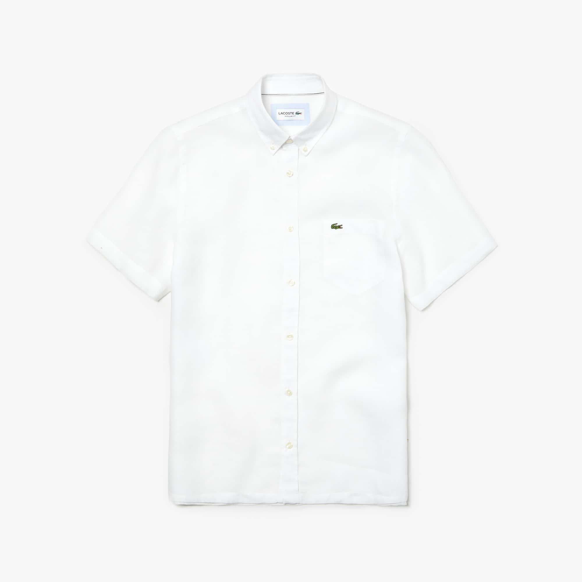 라코스테 반팔 셔츠 Lacoste Mens Regular Fit Linen Shirt,white