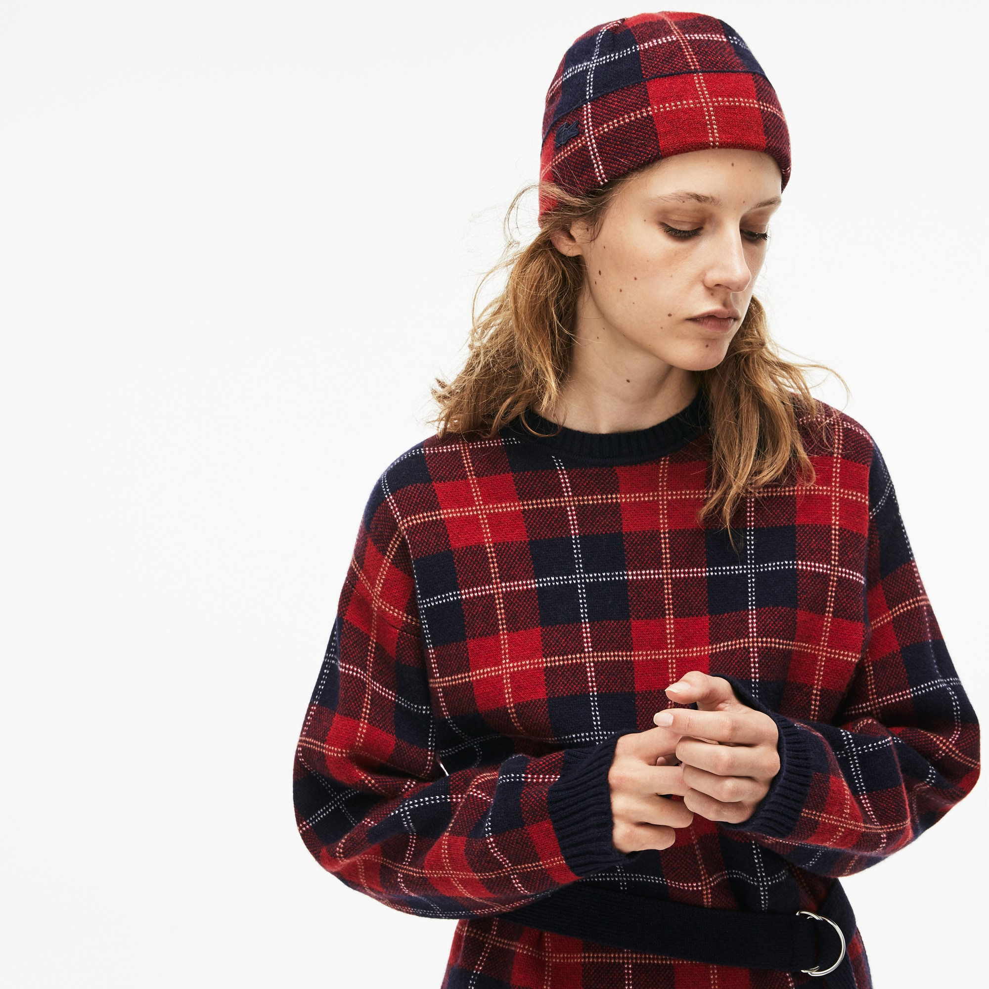Women's Stand-Up Neck Tartan Check Print Wool Jacquard Sweater