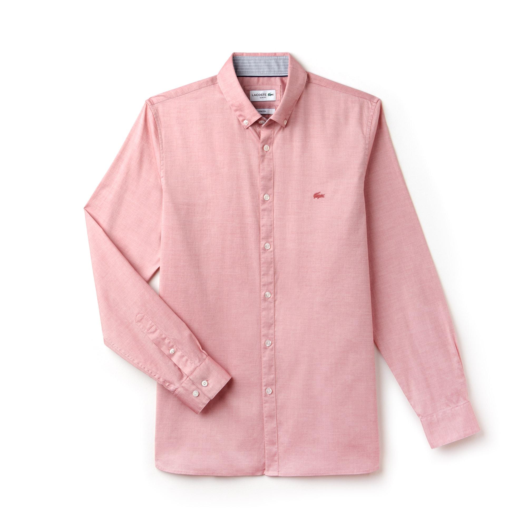 라코스테 Lacoste Mens Slim Fit Stretch Cotton Pinpoint Shirt,pink
