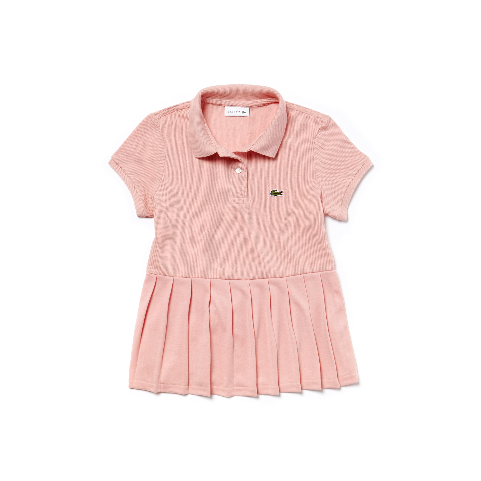 Girls' Flat Pleated Cotton Piqué Polo