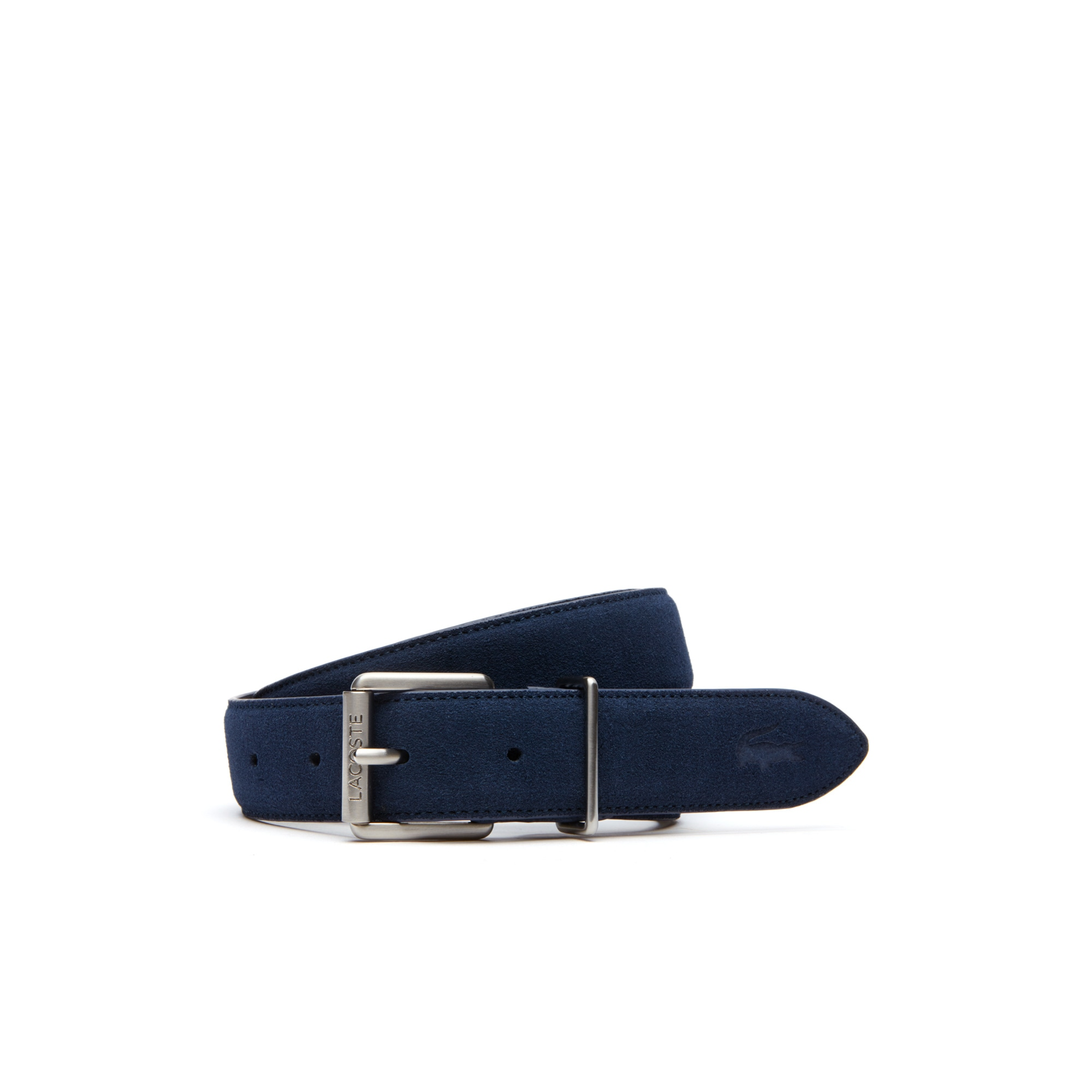 라코스테 Lacoste Mens Tongue Buckle Suede-Style Leather Belt,blue jeans