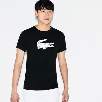 라코스테 스포츠 테니스 '오버사이즈 악어'  반팔 티셔츠, 테크니컬 저지 - 블랙 Lacoste Mens SPORT Technical Jersey Tennis T-Shirt