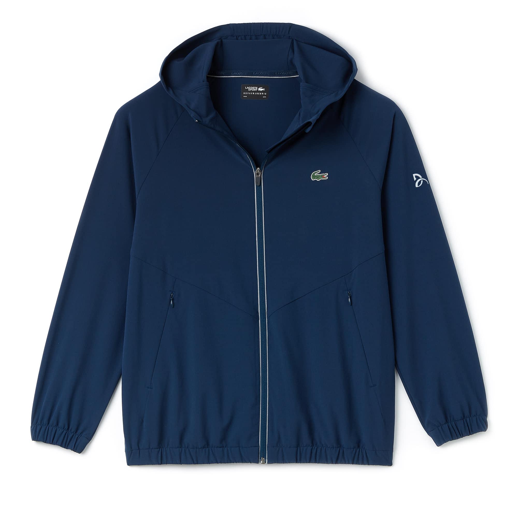 라코스테 Lacoste Mens SPORT Hooded Technical Midlayer Jacket - x Novak Djokovic Off Court Premium Edition,azurite/black