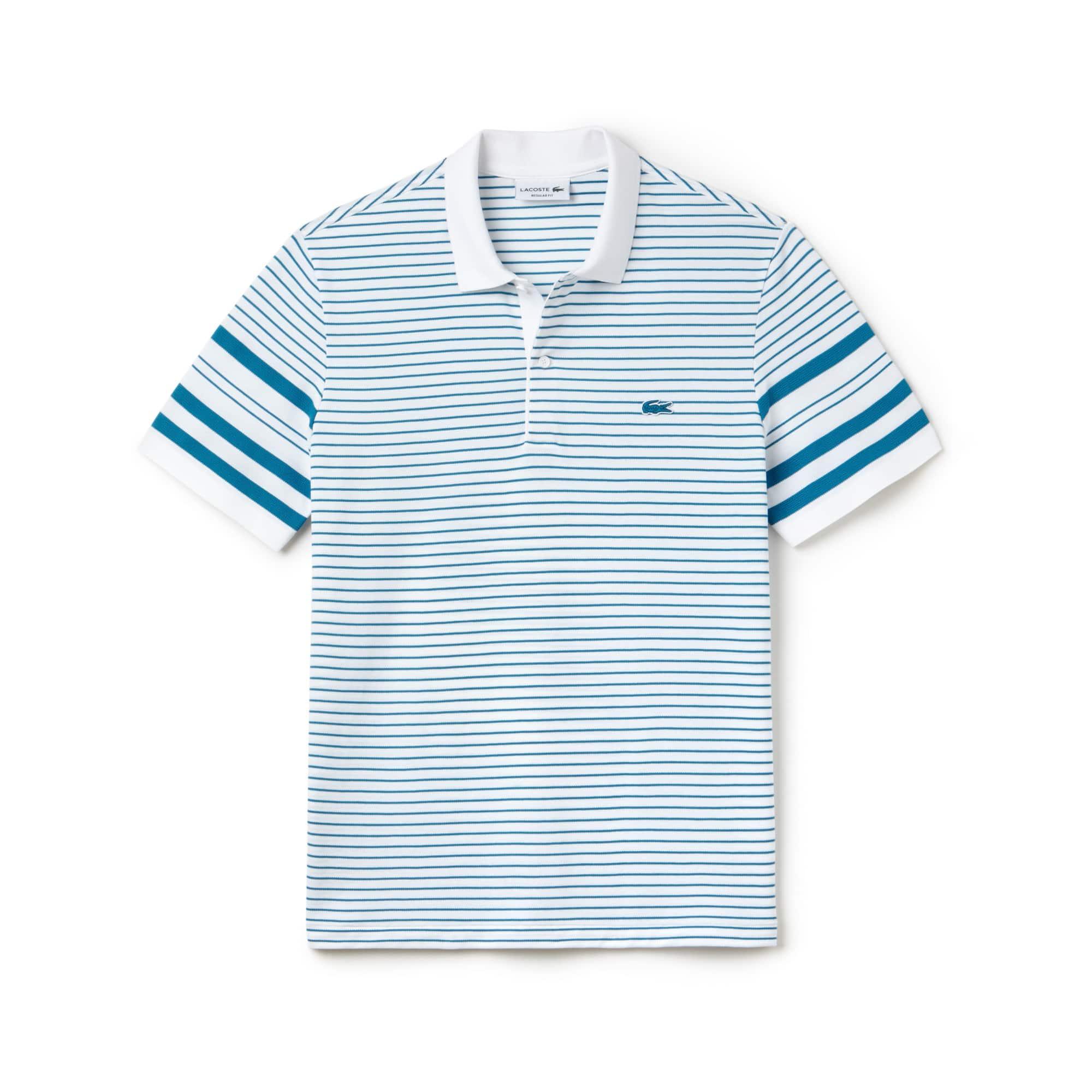 Men's Regular Fit Mixed Stripes Cotton Piqué Polo Shirt