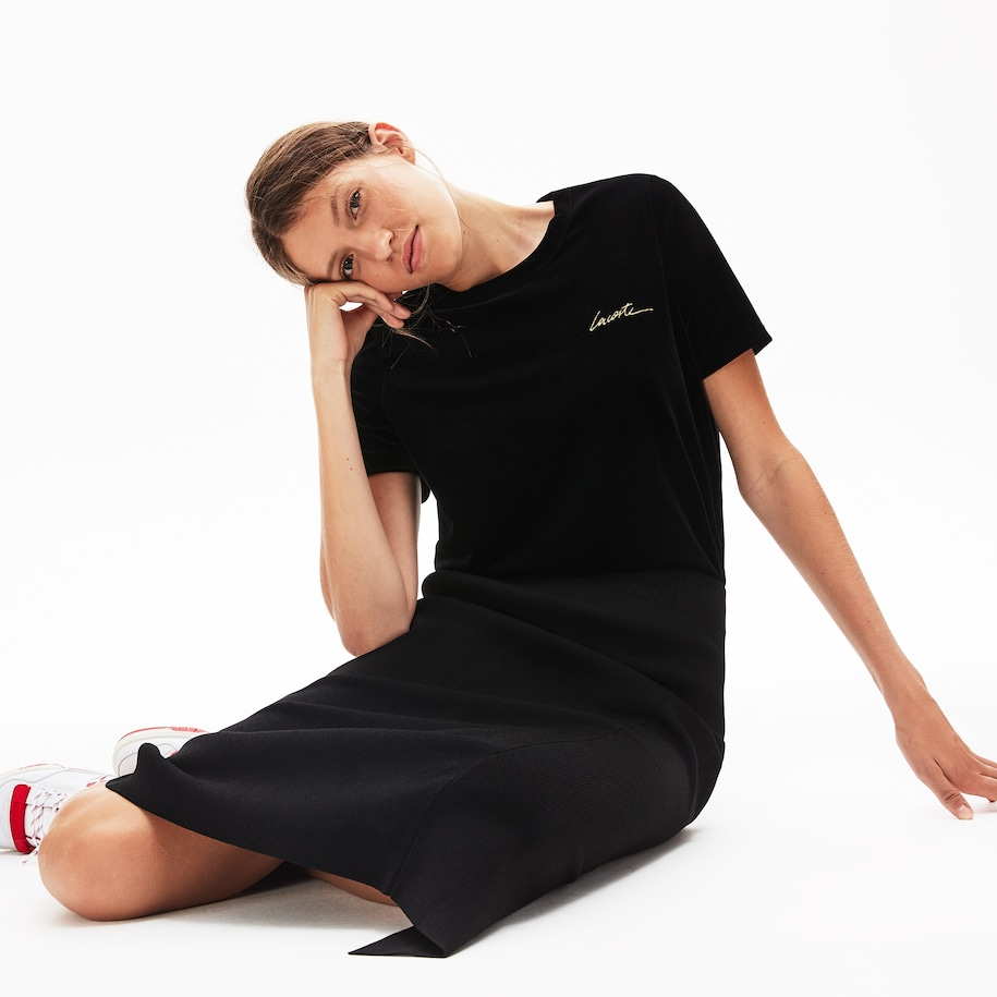 Women's LIVE Crewneck Golden Signature Velvet T-Shirt