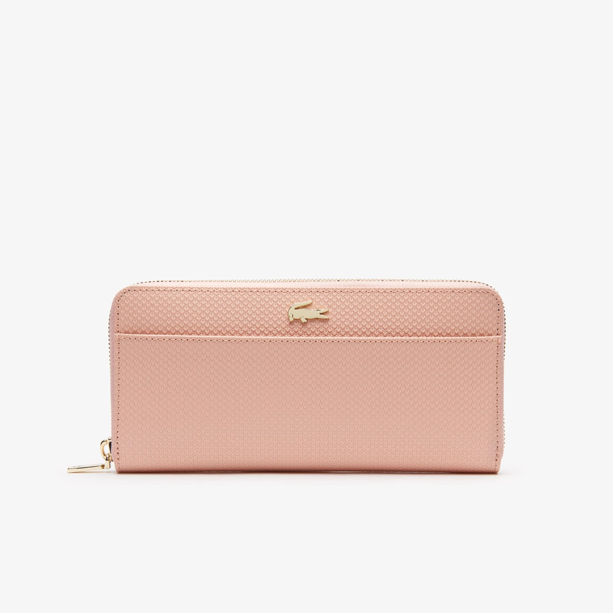 라코스테 Lacoste Womens Chantaco Bicolor Pique Leather 12 Card Zip Wallet,mellow rose