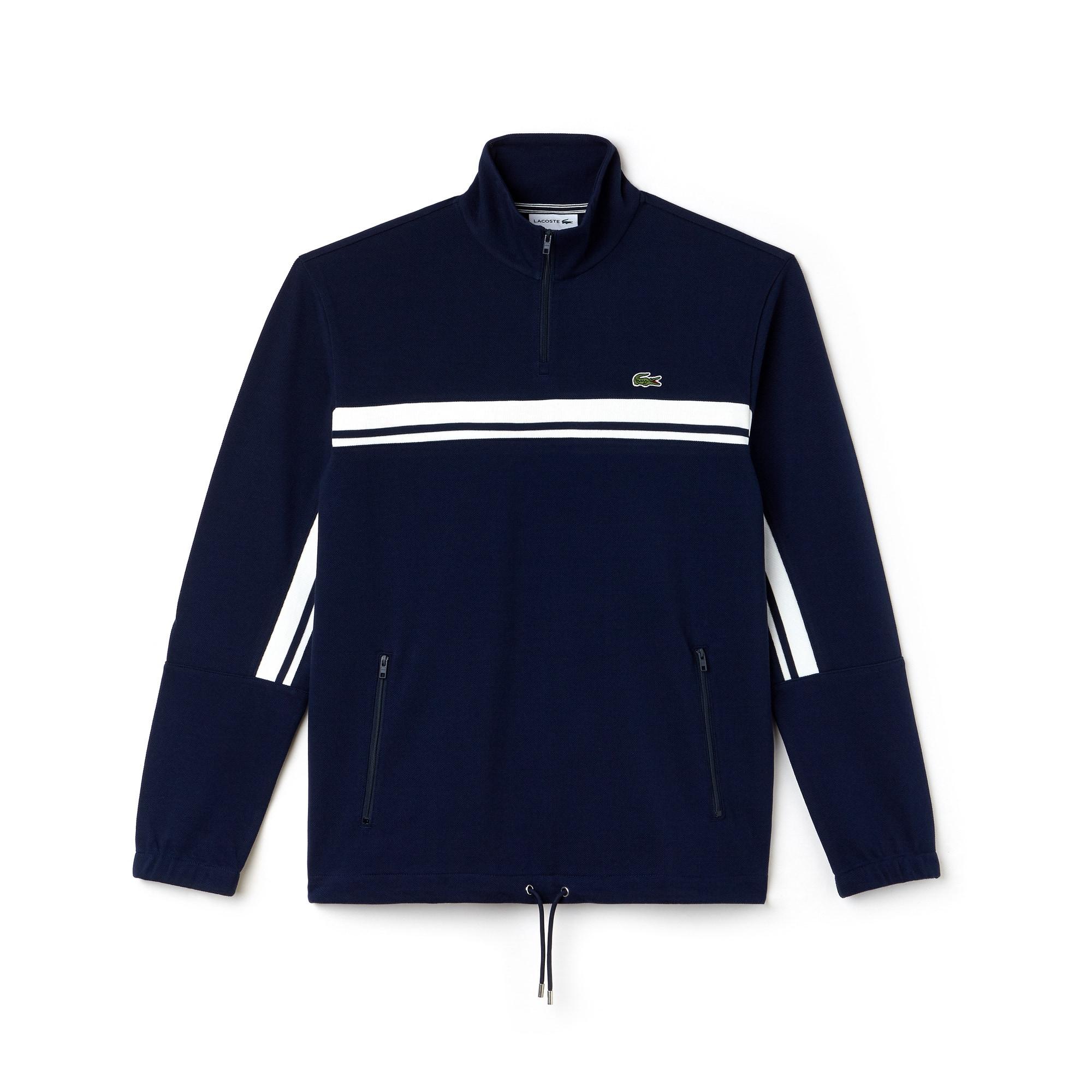 Men's Zip Stand-Up Collar Piqué Sweater