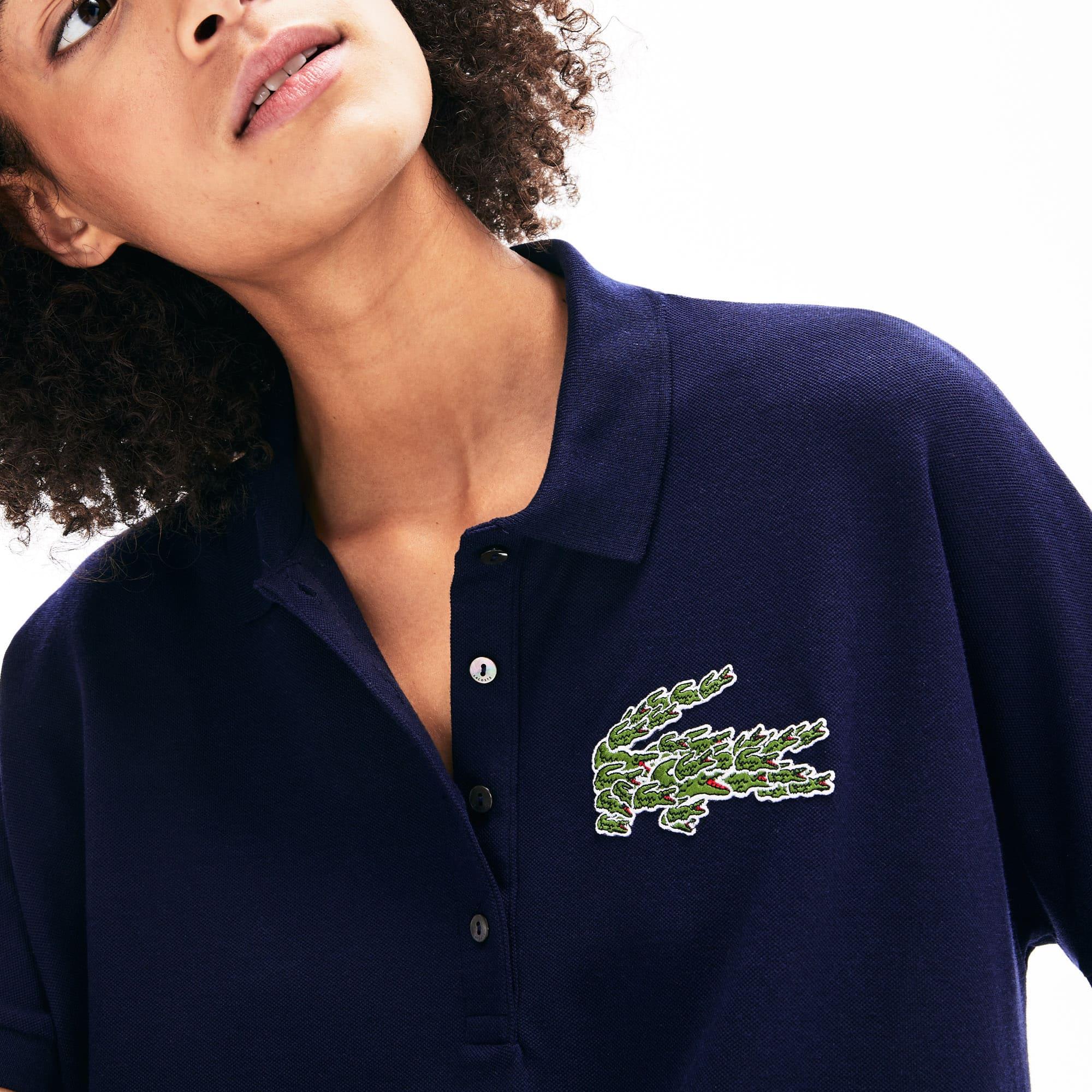 Lacoste Tops Women's Relaxed Fit Croco Magic Logo Piqué Polo