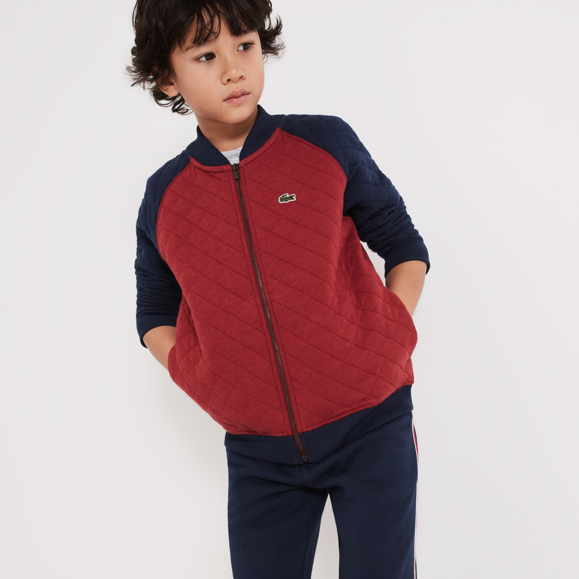 Boys' Teddy Neck Colorblock Quilted Cotton Sweatshirt