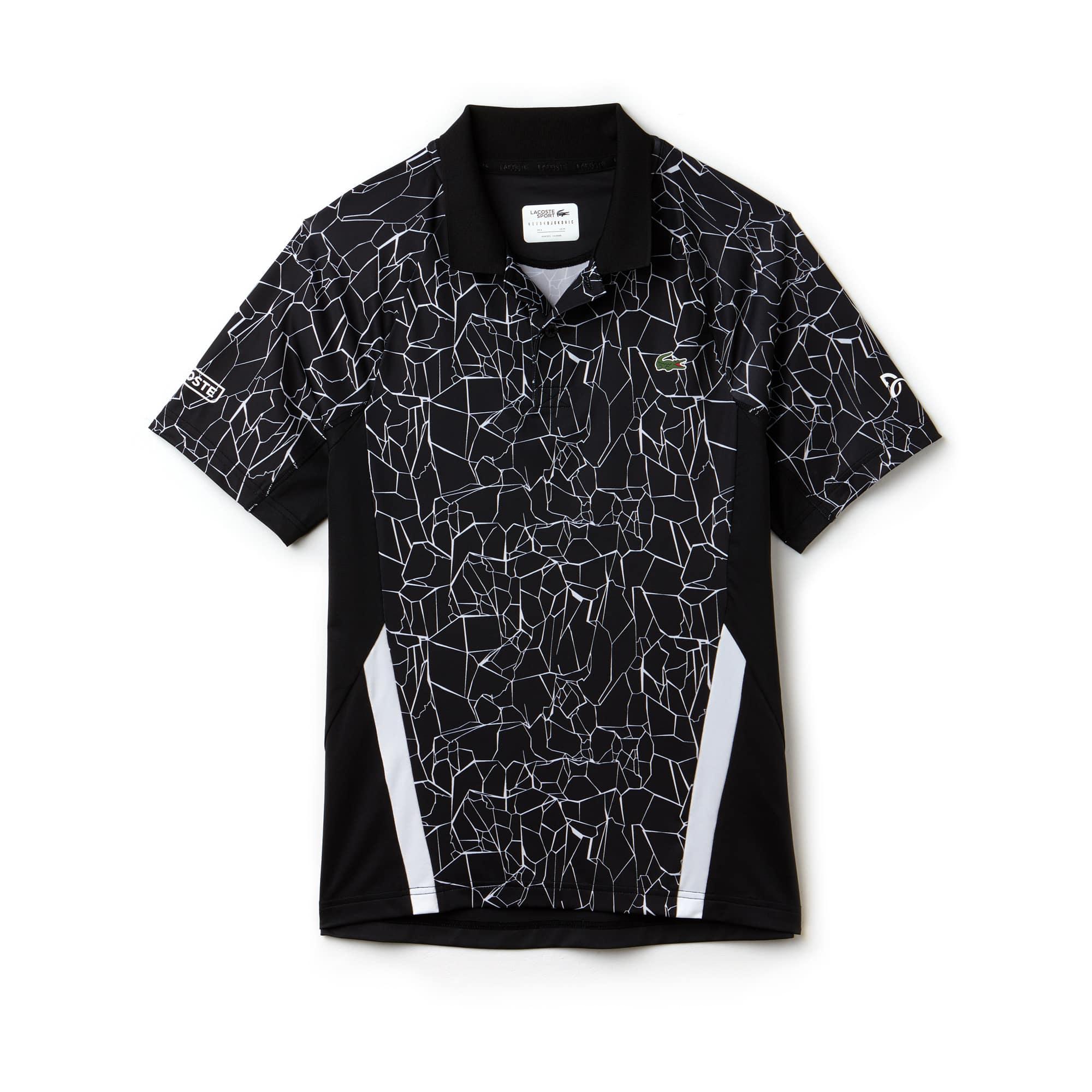 라코스테 Lacoste Mens SPORT Print Technical Jersey Polo - x Novak Djokovic On Court Premium Edition,black/white