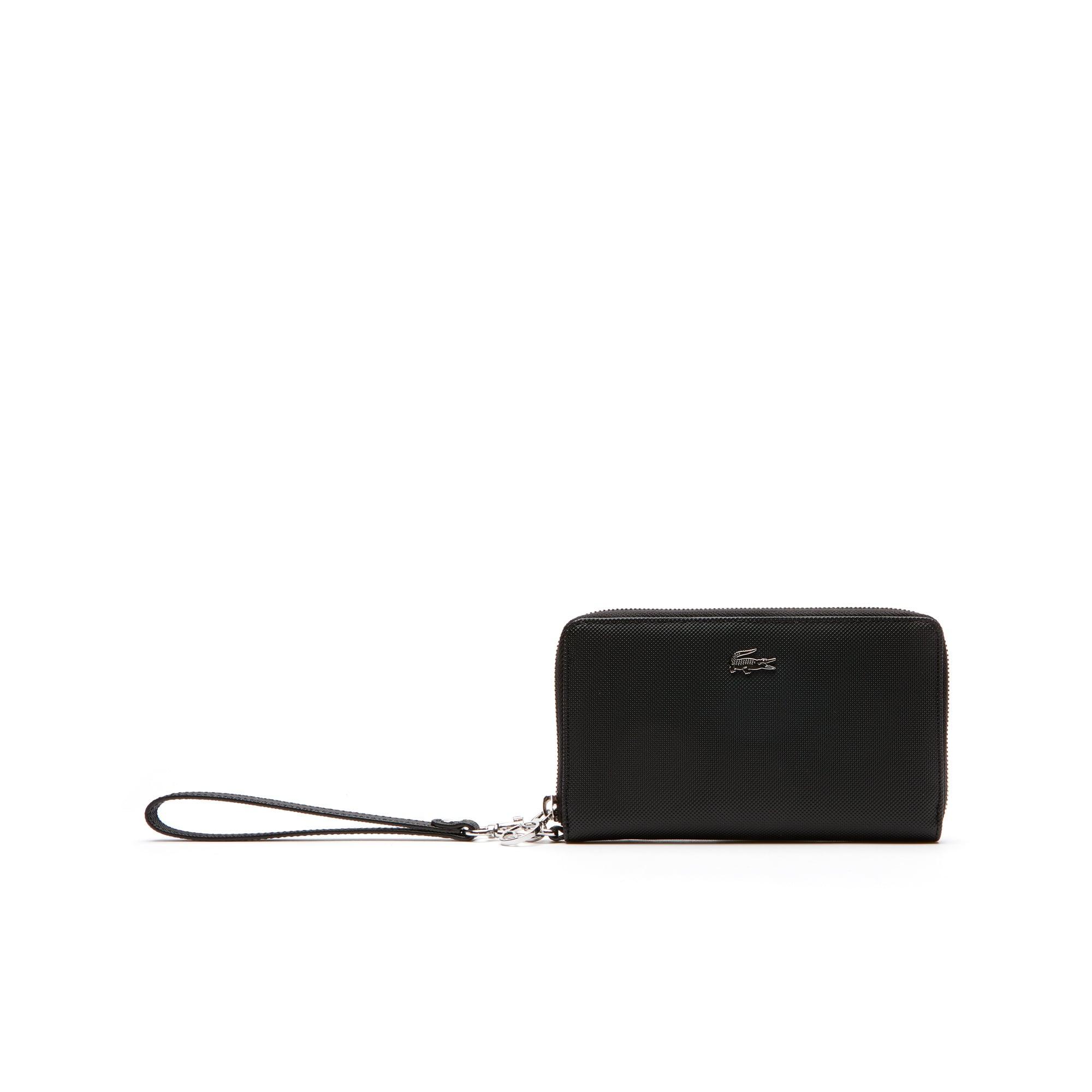 라코스테 장지갑 Lacoste Womens Daily Classic Coated Pique Canvas 7 Card Zip Wallet,black