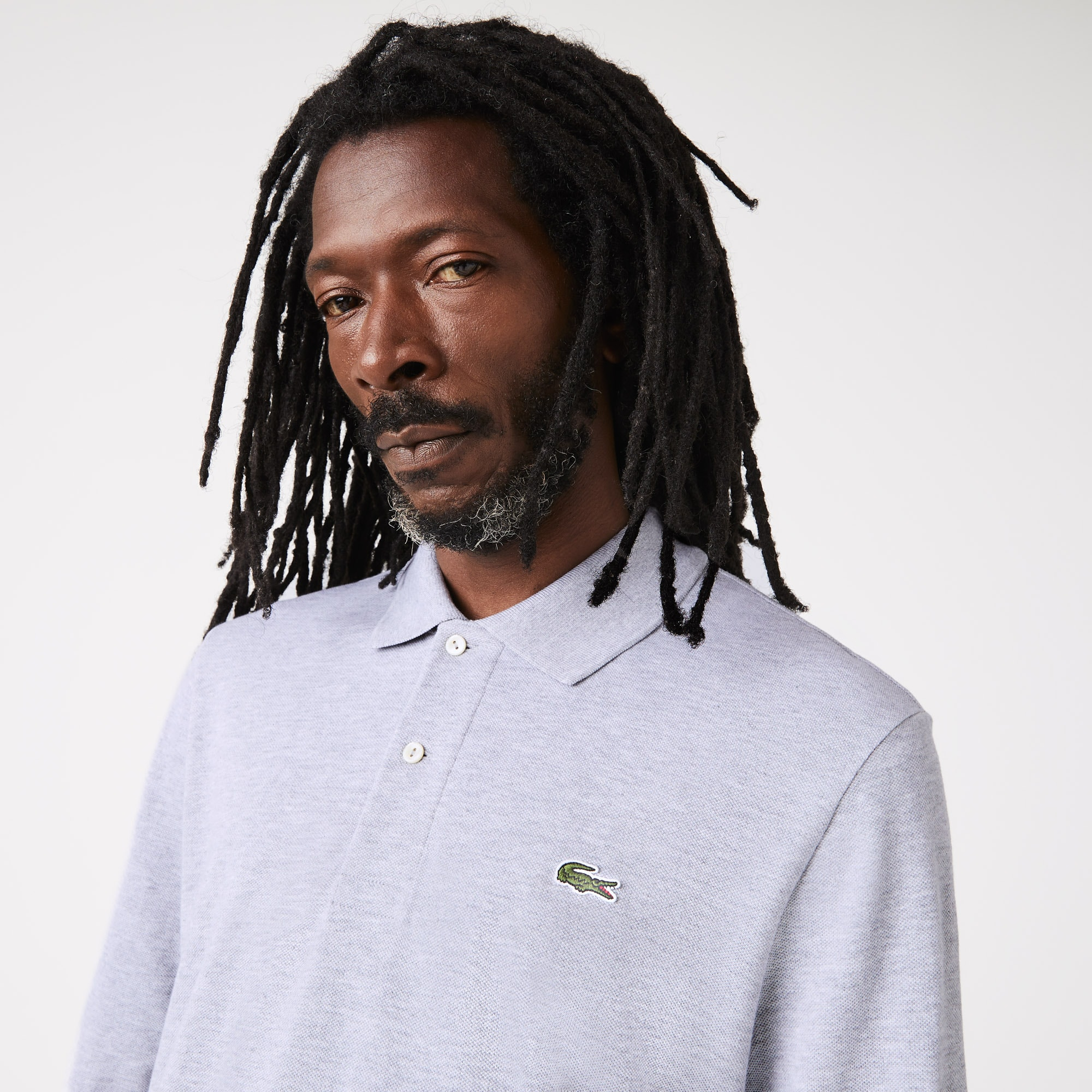 df4f63fe Lacoste classic fit long-sleeve Polo Shirt in marl petit piqué