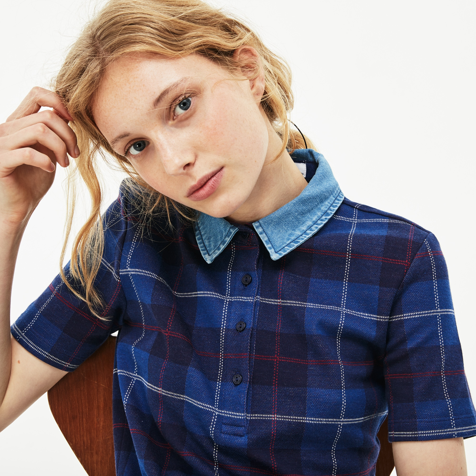 Women's Tartan Check Cotton Jacquard Polo